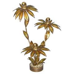 Sculptural Maison Jansen Brass Flower Floor Lamp France 1970s Charles Bagues