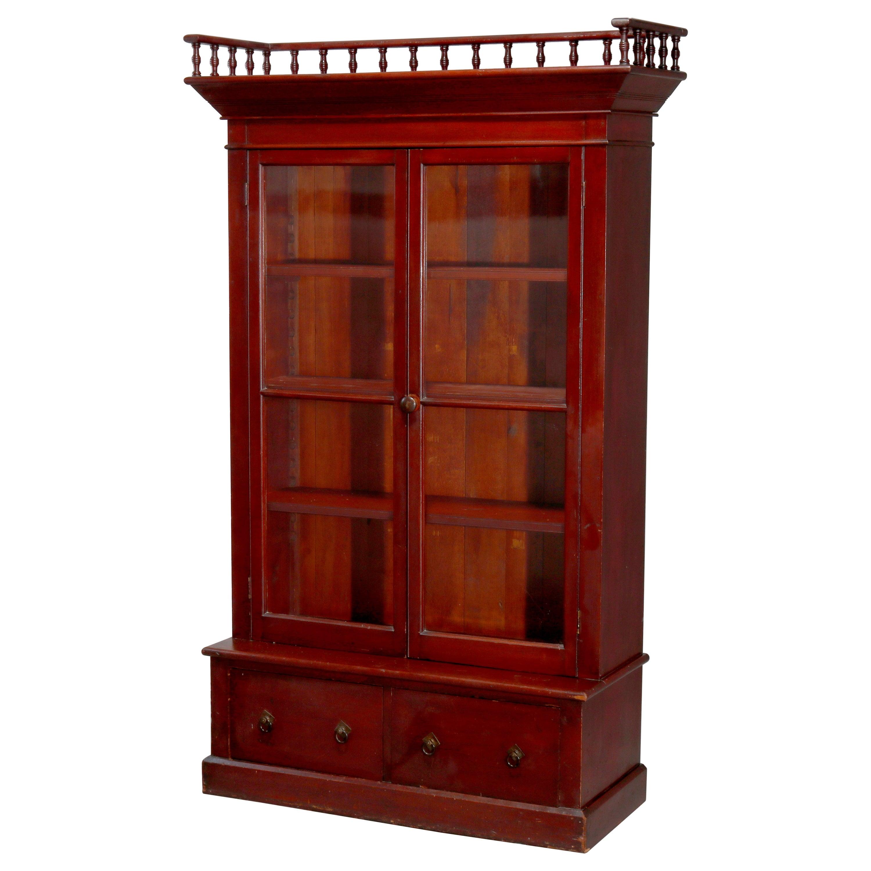 Antique Eastlake Mahogany Two-Door Bookcase, circa 1900