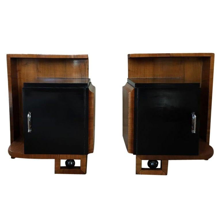 Rare Pair of French Bedside Tables, 1930s For Sale