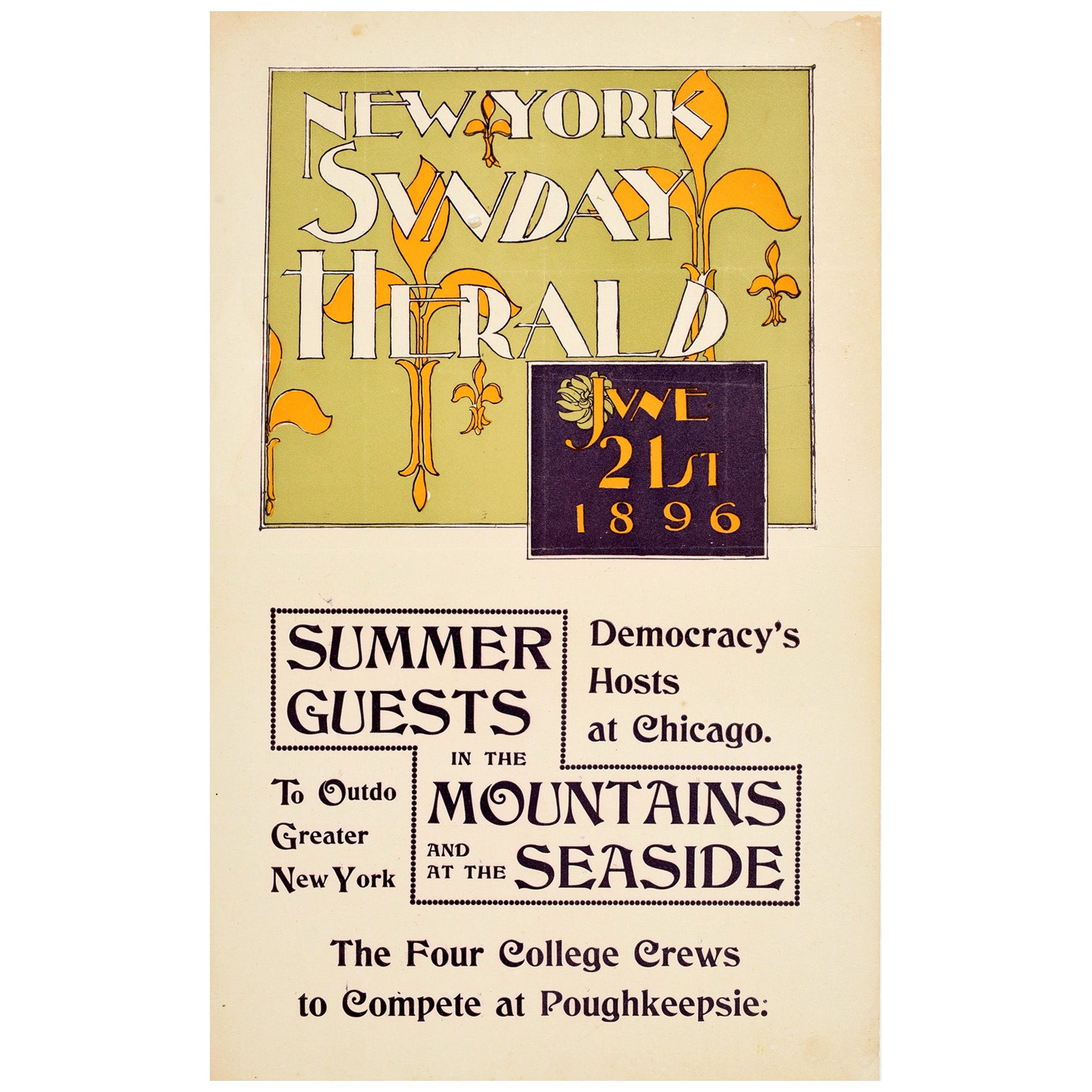 Original Antique Poster New York Sunday Herald 1896 Summer Fleur De Lis Design