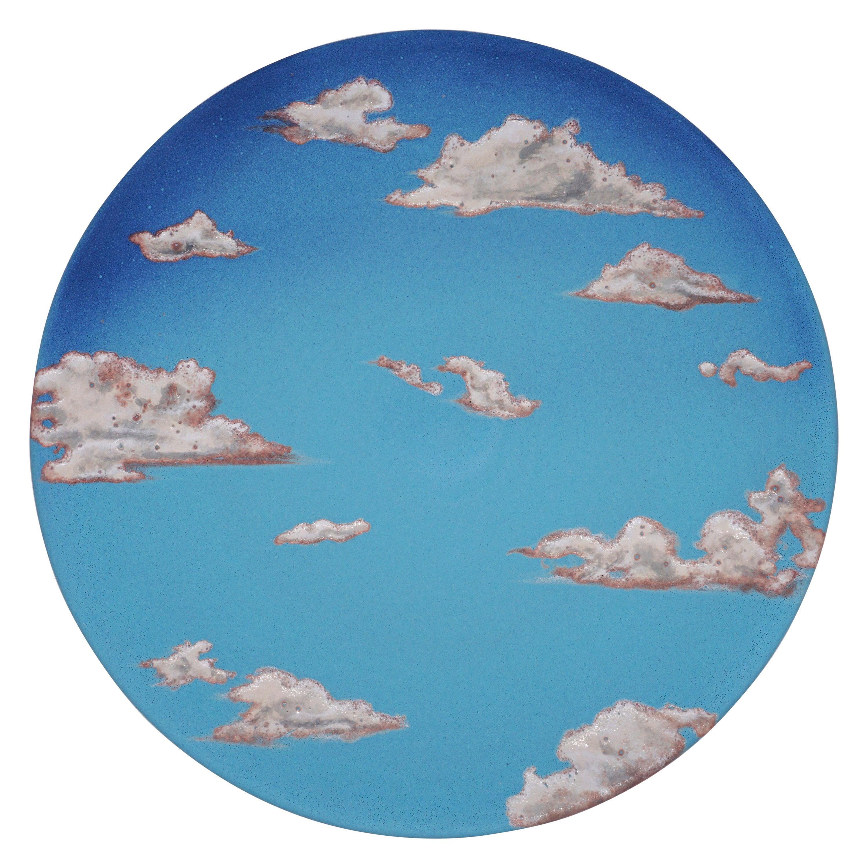 Sky Ceramic Plate Hand Painted Glazed Earthenware Italian, Contemporary