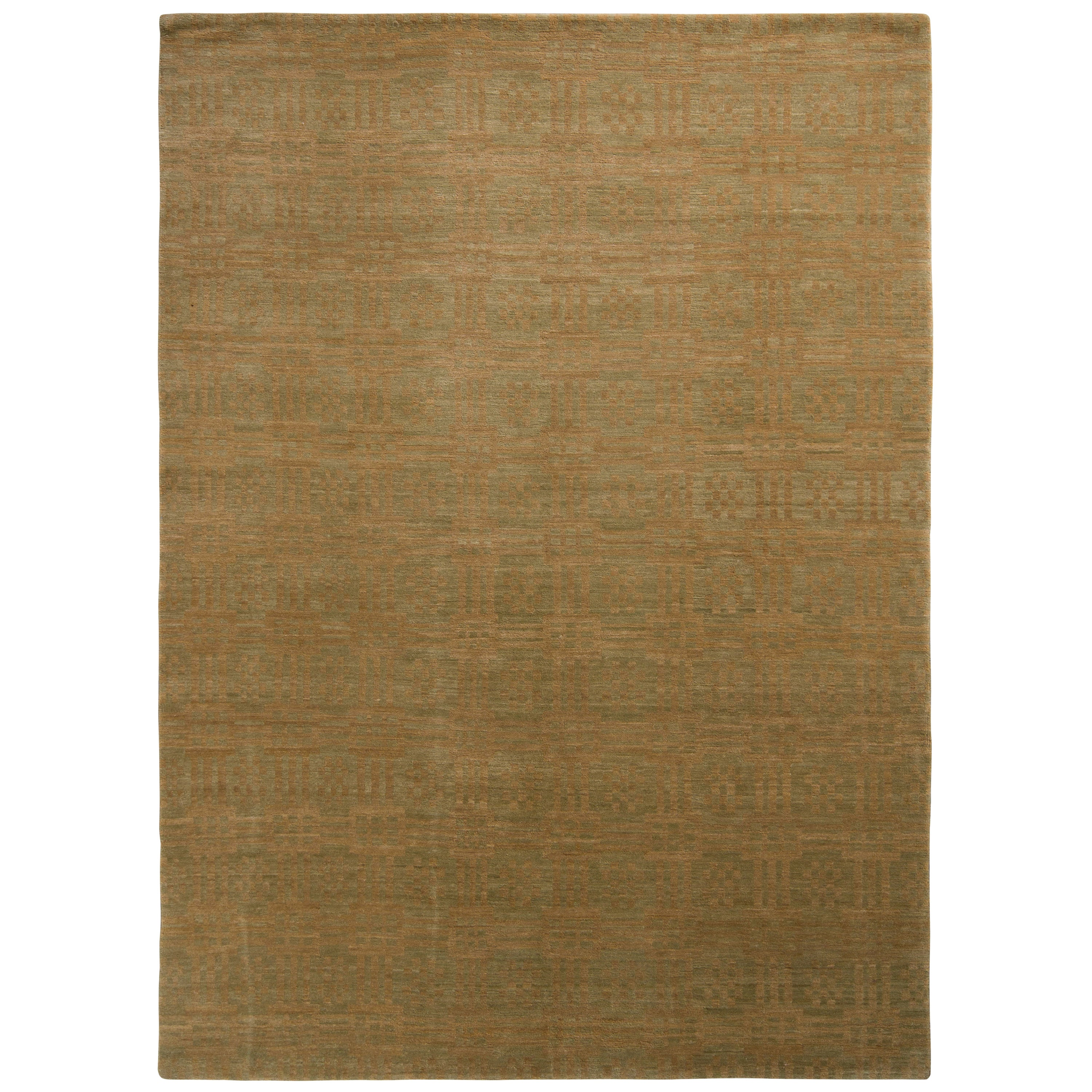 Rug & Kilim's Handmade Contemporary Rug in Green and Brown Geometric Pattern