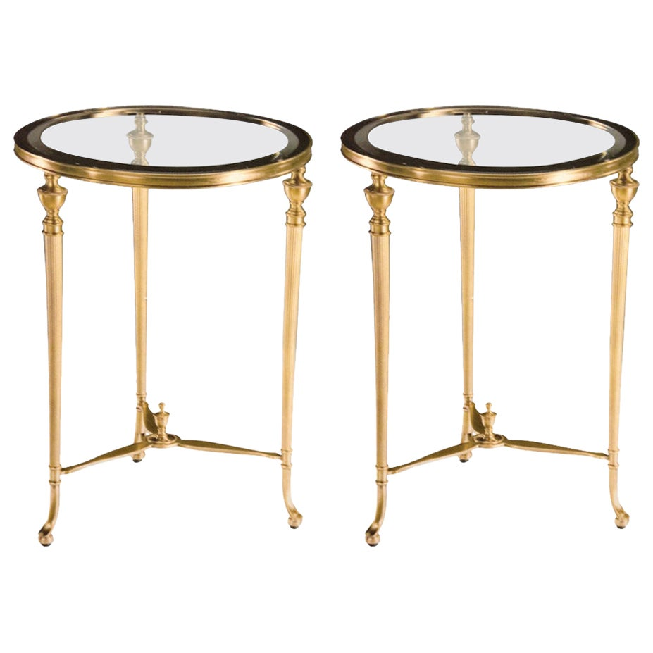Pair of Italian Modern Neoclassical Solid Brass Side Tables