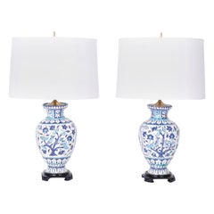 Pair of Antique Blue and White Glazed Terracotta Table Lamps