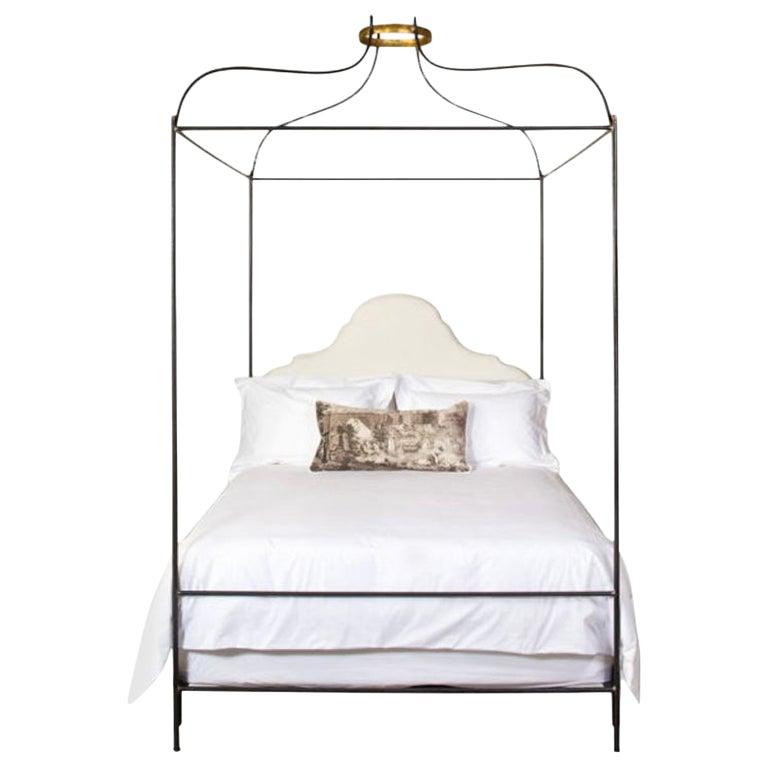 Iron Venetian Canopy Bed with Linen Headboard, Queen