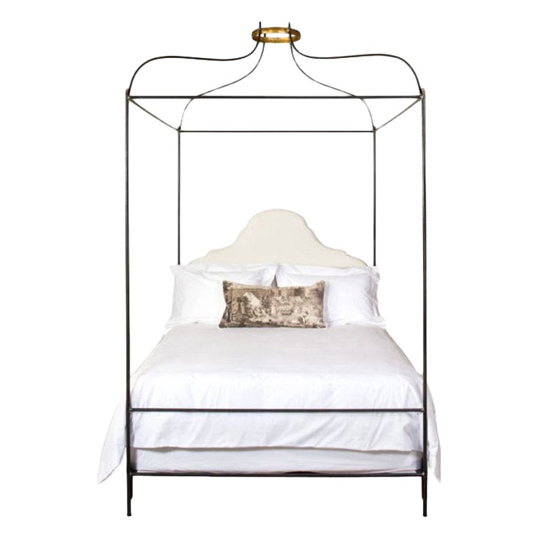 Iron Venetian Canopy Bed with Linen Headboard, Twin