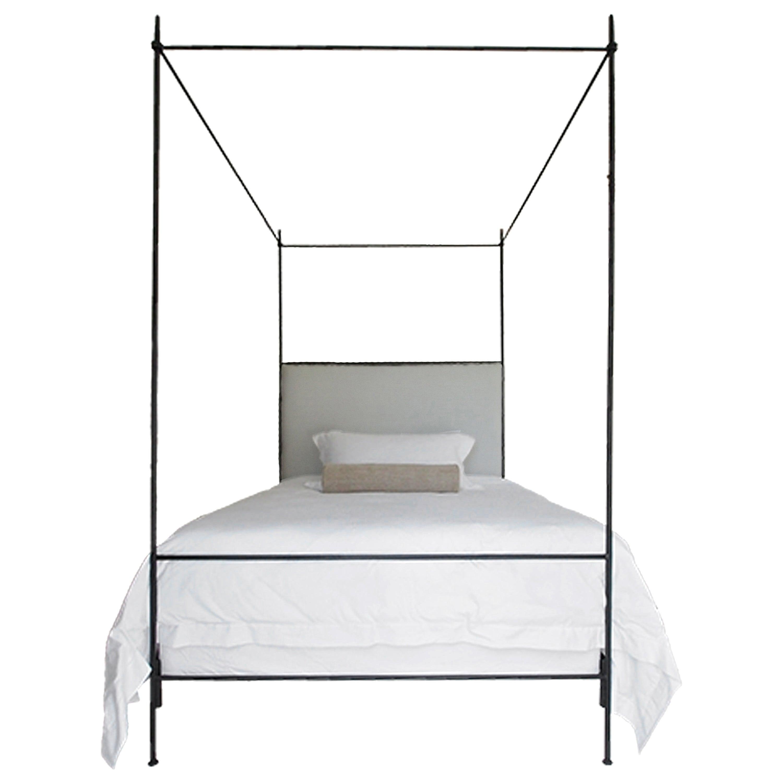 Louis XVI Iron Canopy Bed with Linen Headboard, Queen