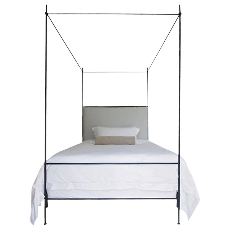 Louis XVI Iron Canopy Bed with Linen Headboard, Twin