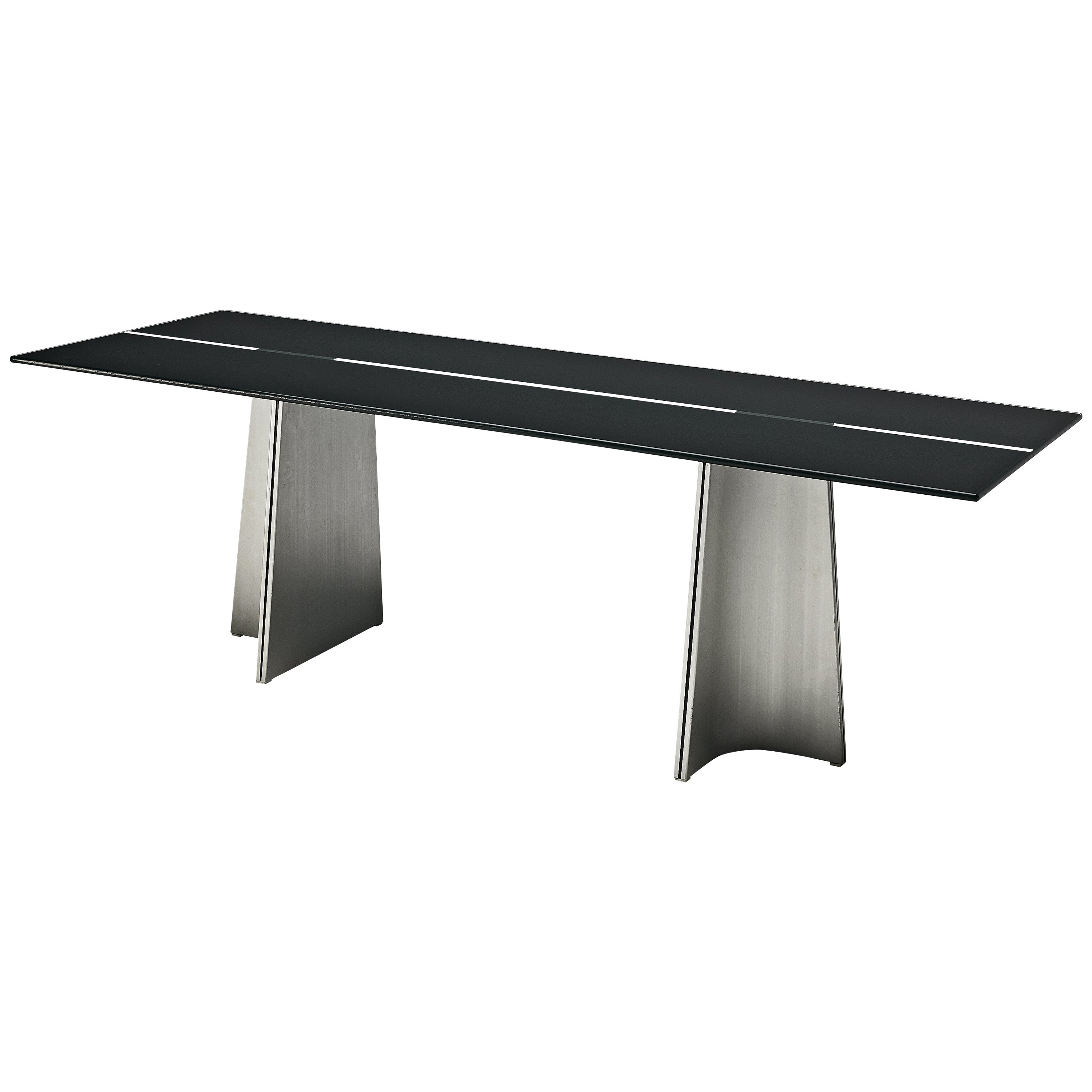 Postmodern Rectangular Dining Table 'Ufo' in Metal and Glass by Luigi Saccardo