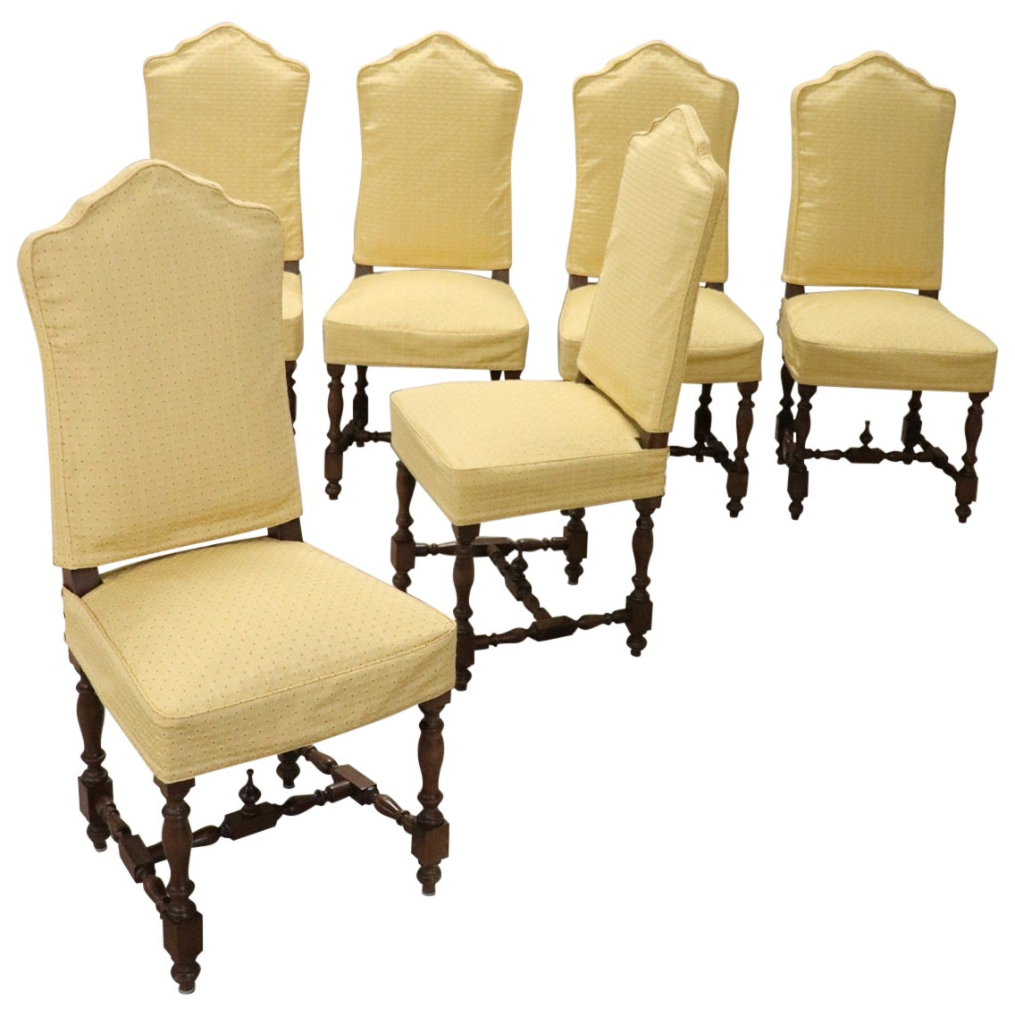 20th Century Italian Louis XIV Style Walnut Wood Chairs, Set of Six