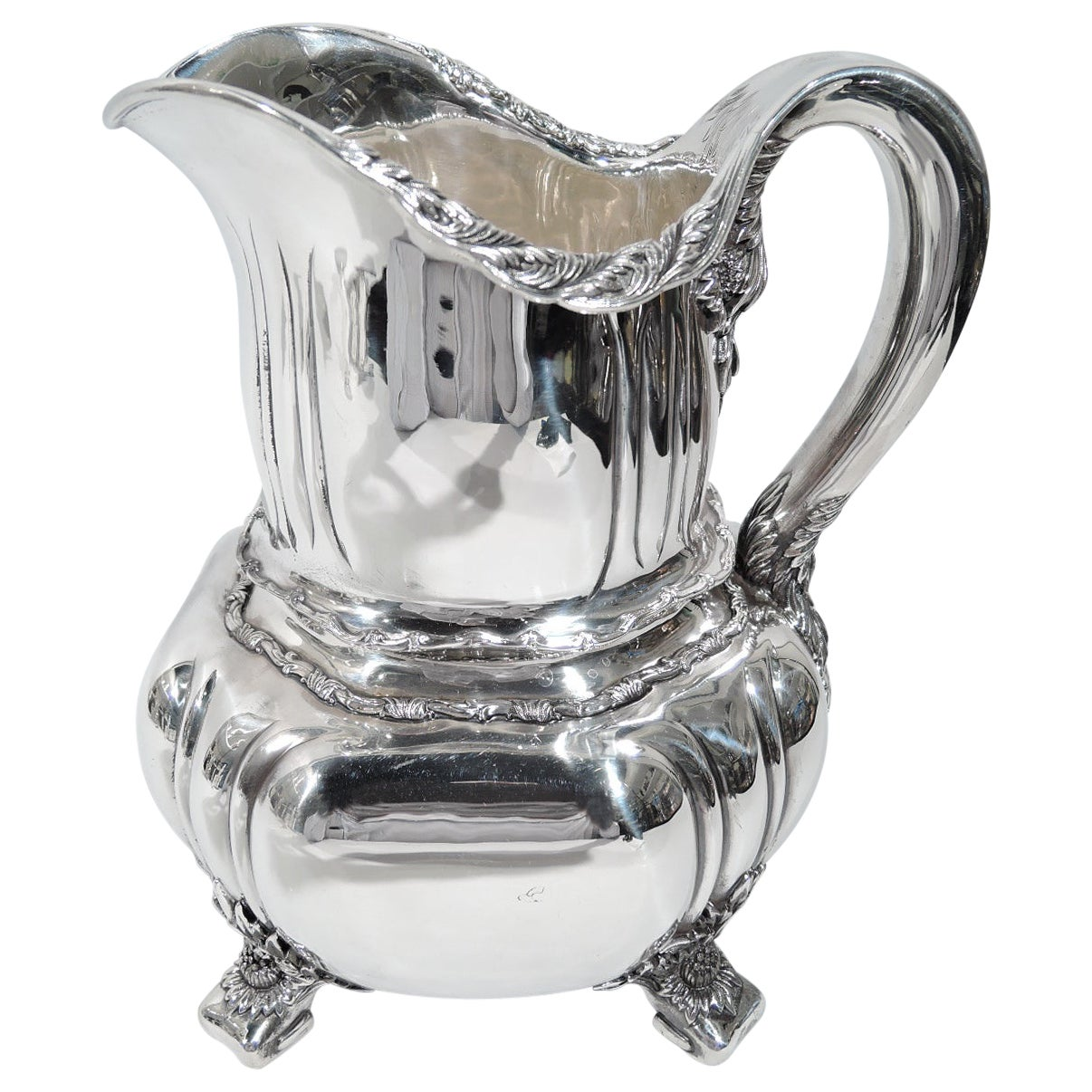 Antique Tiffany Chrysanthemum Sterling Silver Water Pitcher