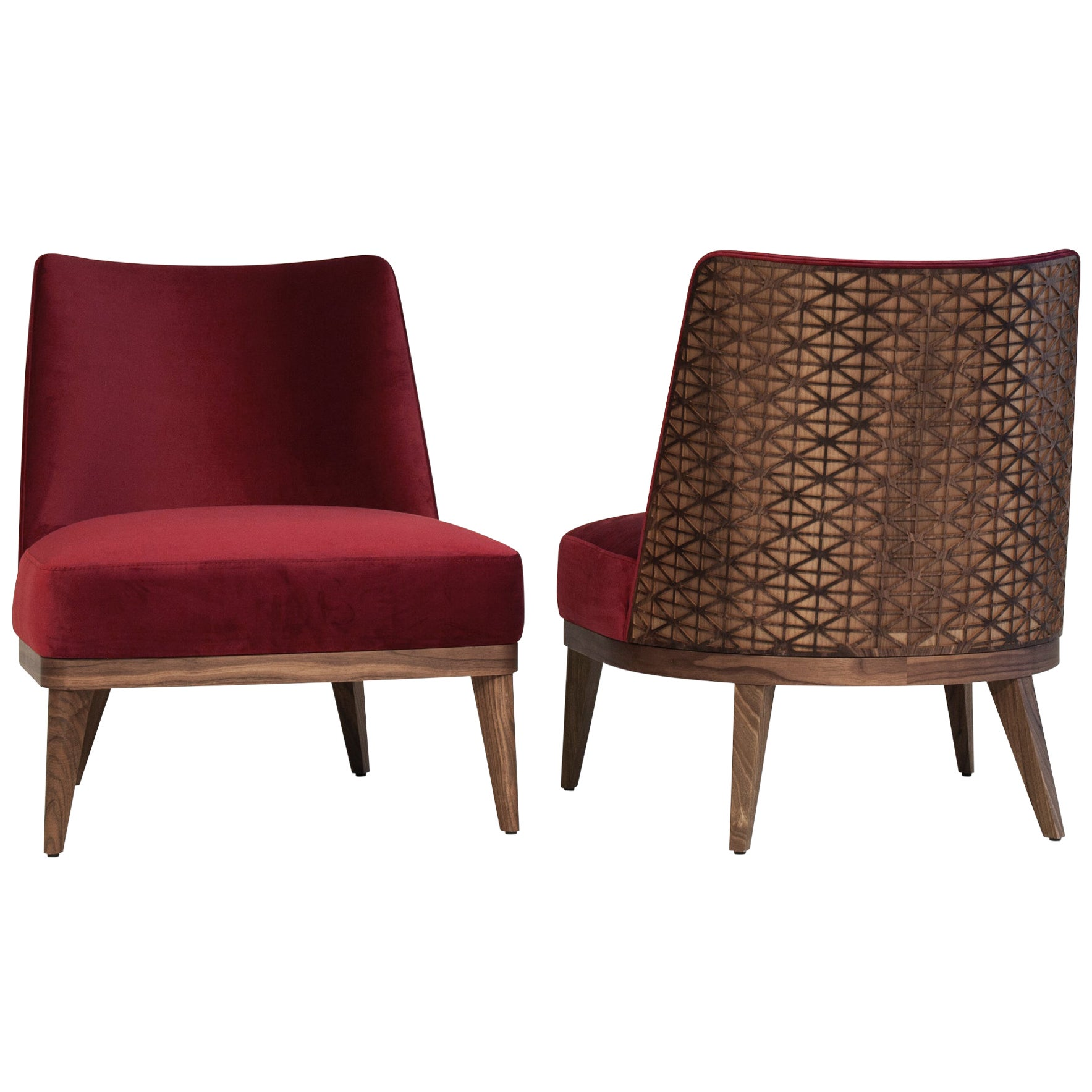 Fez Lounge Chair, Wood Patterned Backing Upholstered in Red Velvet Chair