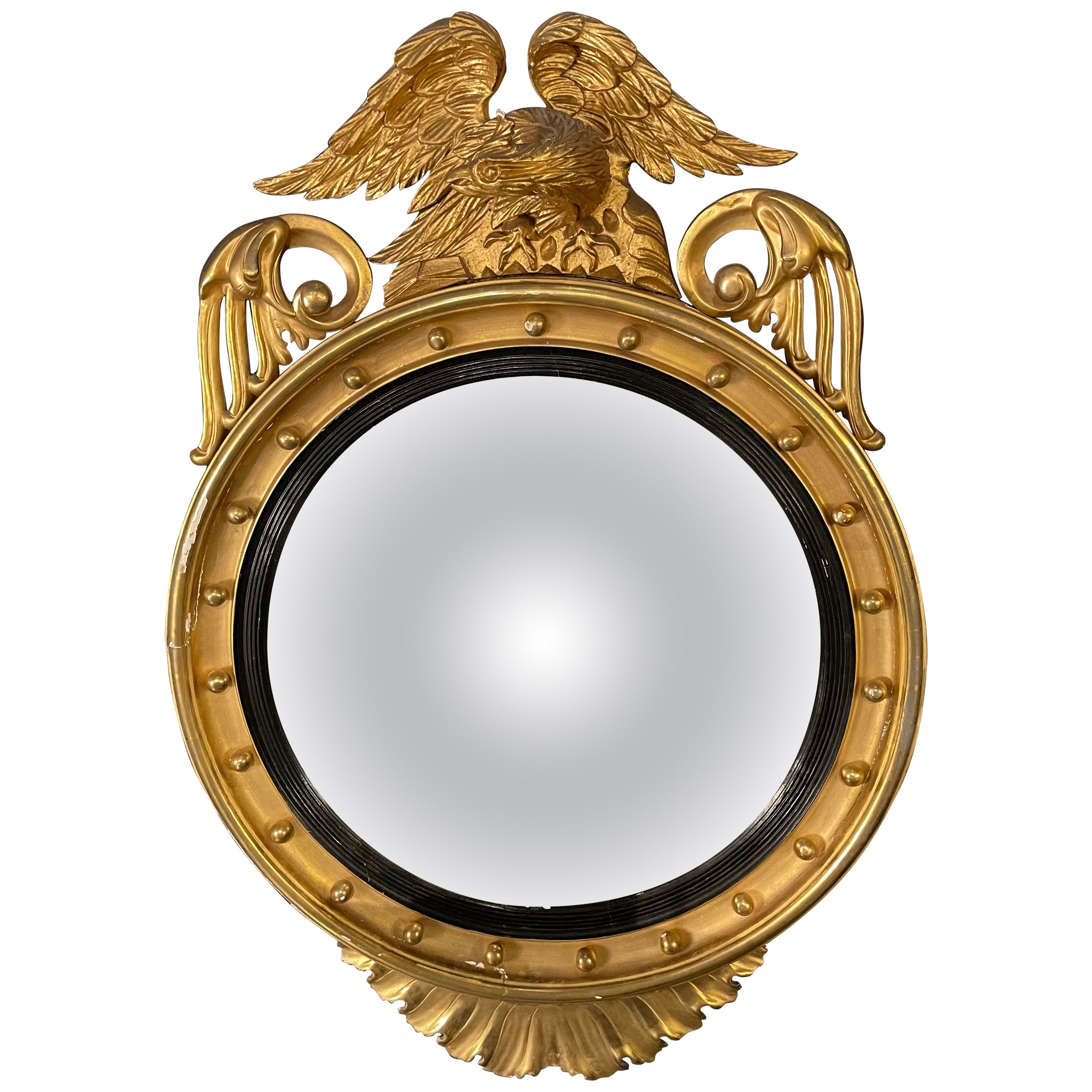 Federal Style Gilt Gold Convex Mirror, Wall, Console or Pier Mirror