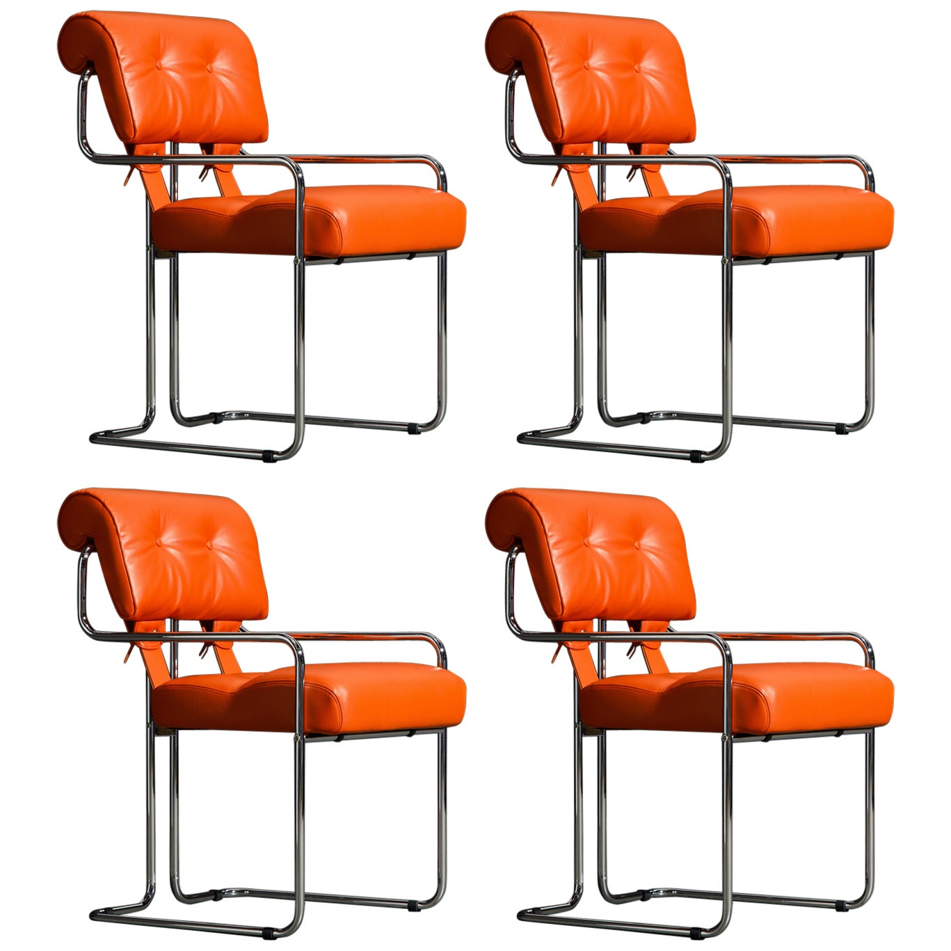 Set of Four Orange Leather Tucroma Chairs by Guido Faleschini for Mariani, New