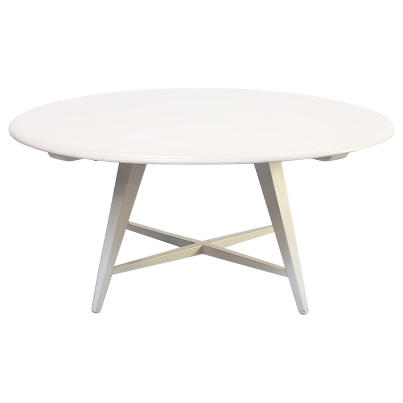 1980s White Round Wooden Coffee Table by Bas Van Pelt