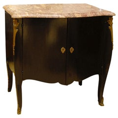 20th Century French Louis XVI Style Transitional Marble-Top Ebonized Commode