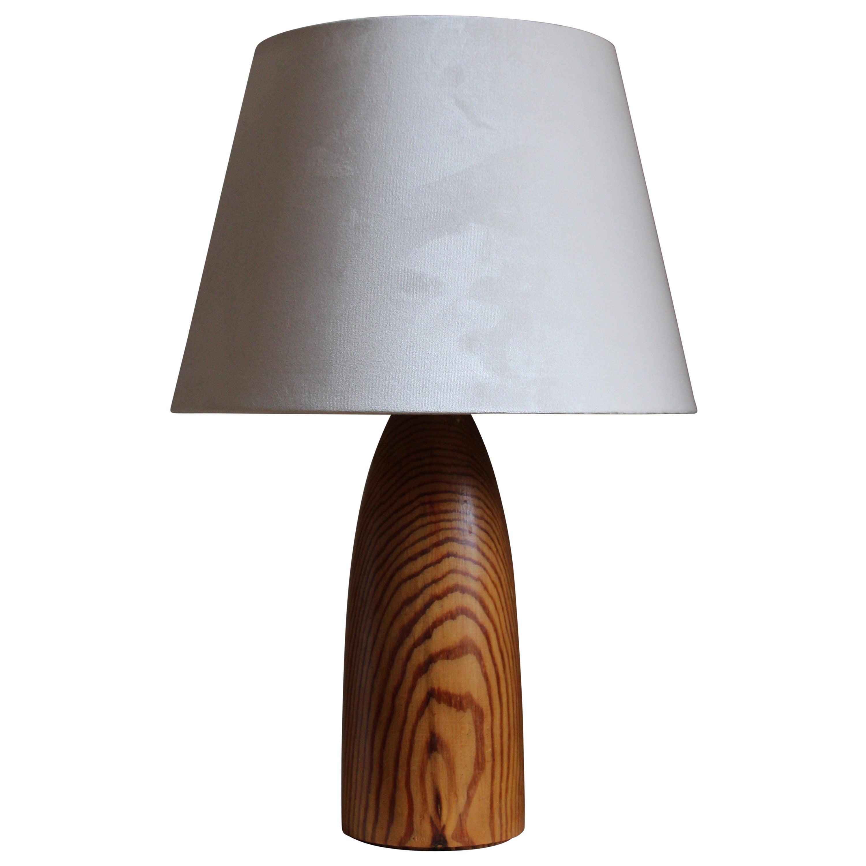 Swedish Designer, Minimalist Table Lamp, Solid Pine, Sweden, 1960s