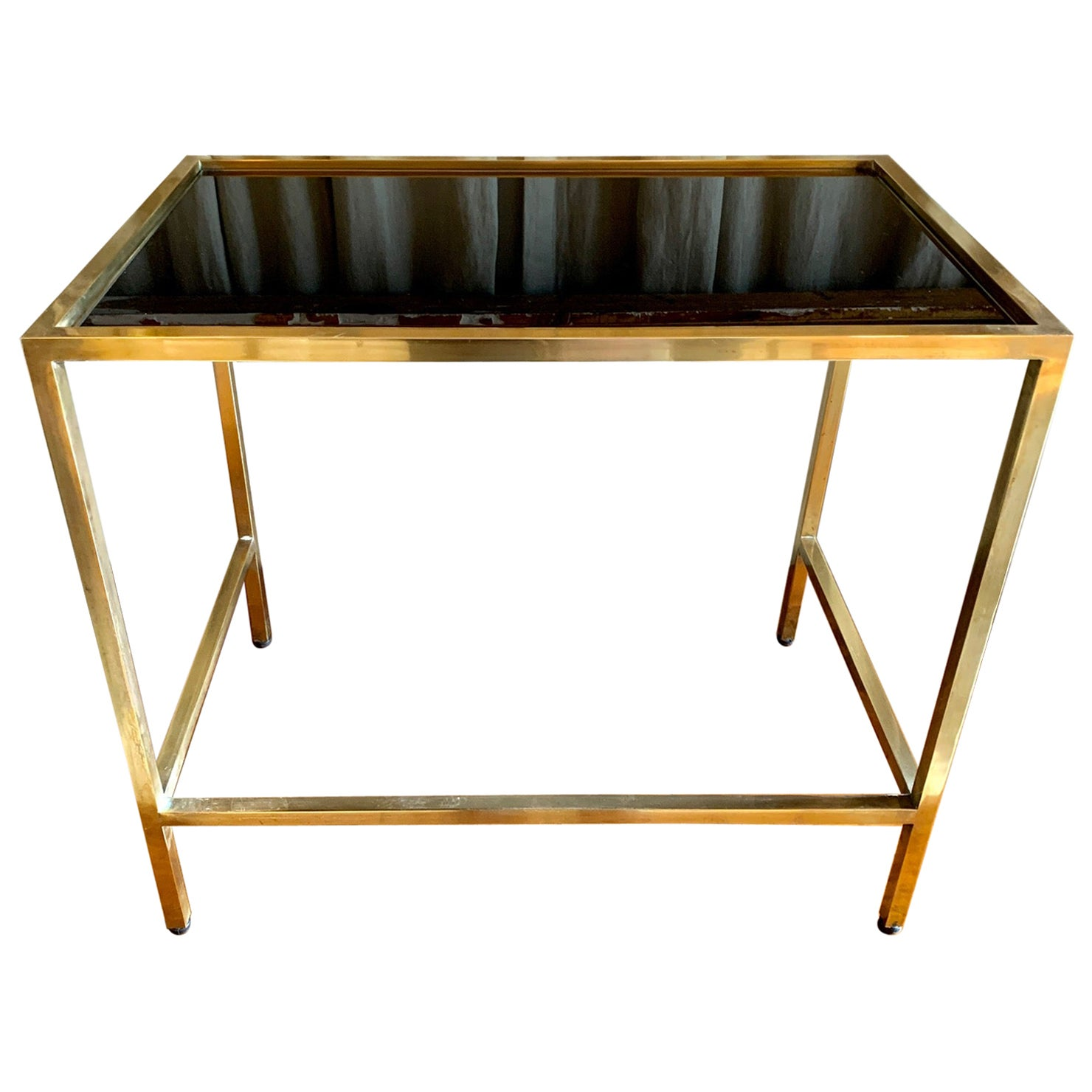 1970 Small Brass Coffee Table with Black Glass Top