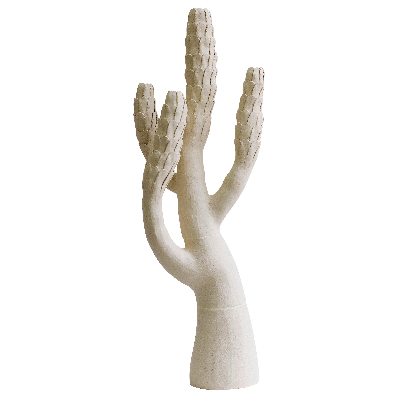 White Contemporary Ceramic Tree Sculpture, Arbre Blanc Ecailles
