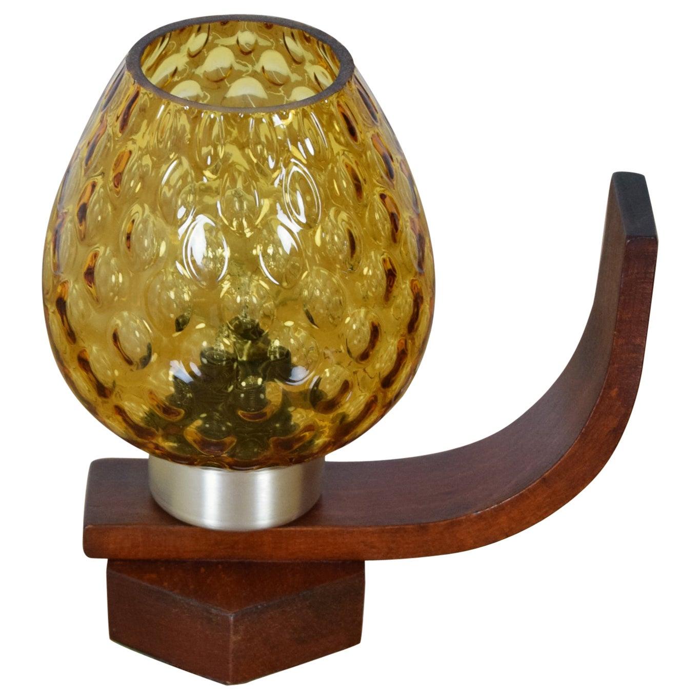 Midcentury Wood Table Lamp/ Drevo Humpolec, 1960s