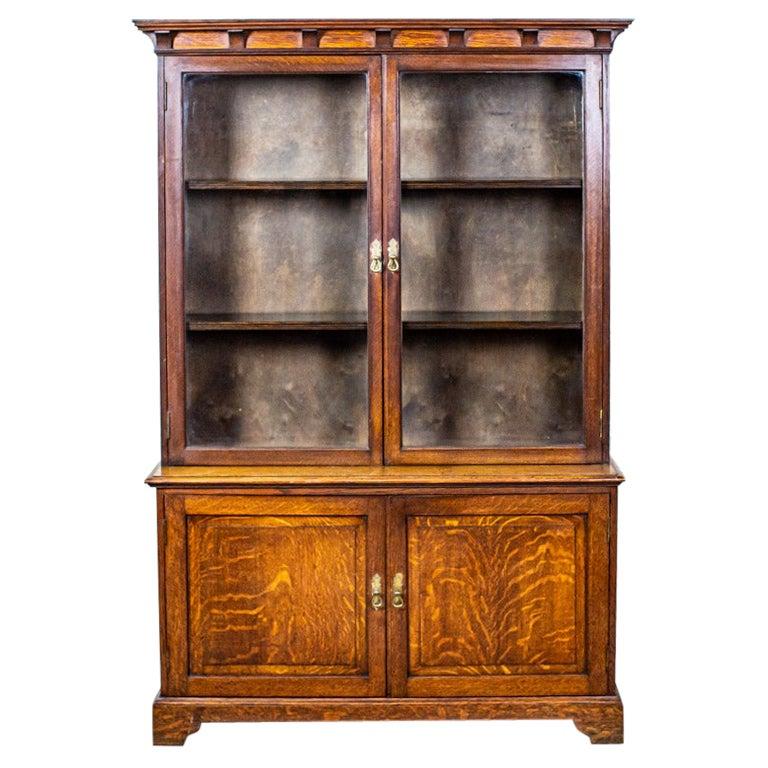 20th Century Oak Display Cabinet-Bookcase