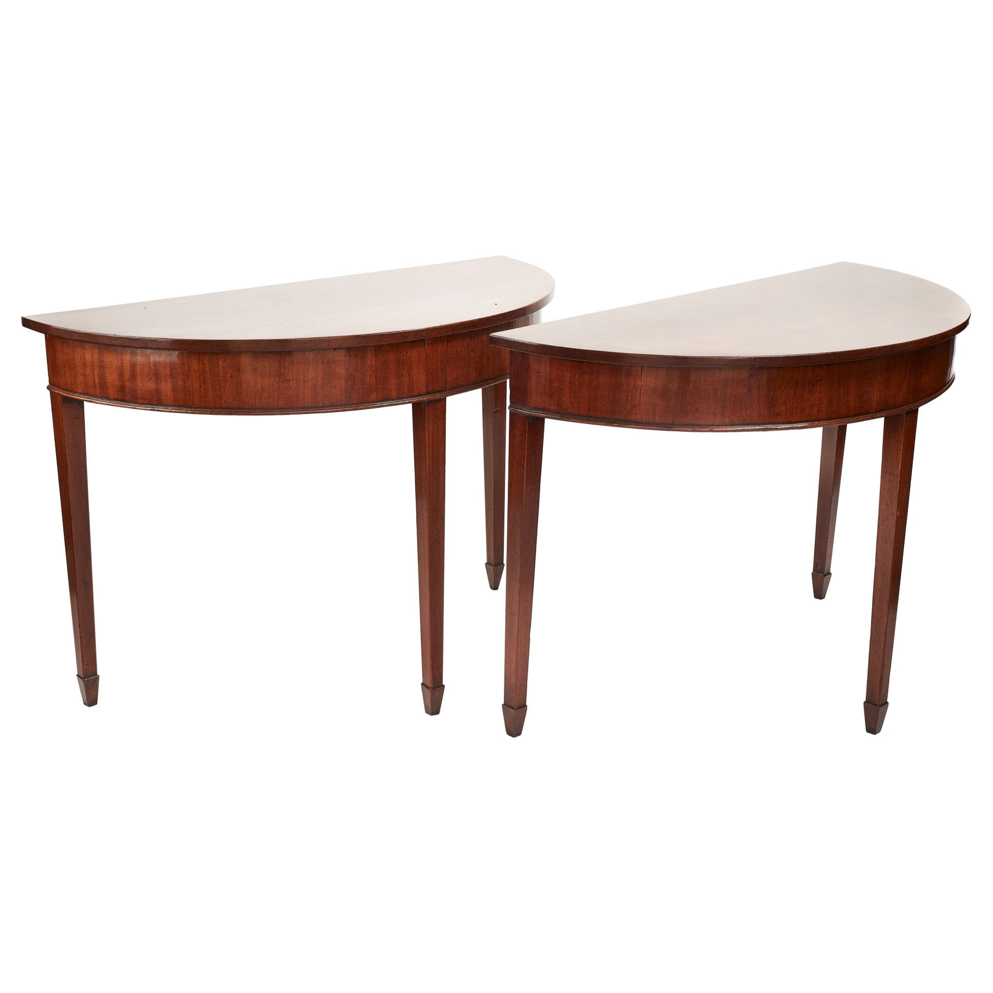 Antique Pair of George III Demilune Mahogany Console Tables