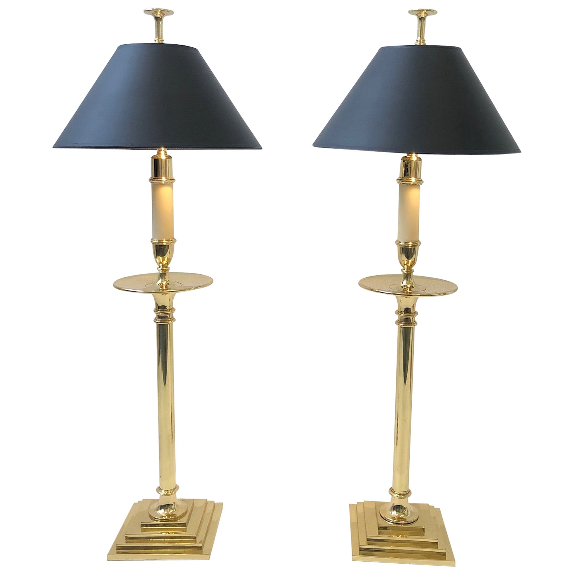 Pair of Brass Table Lamps by Chapman