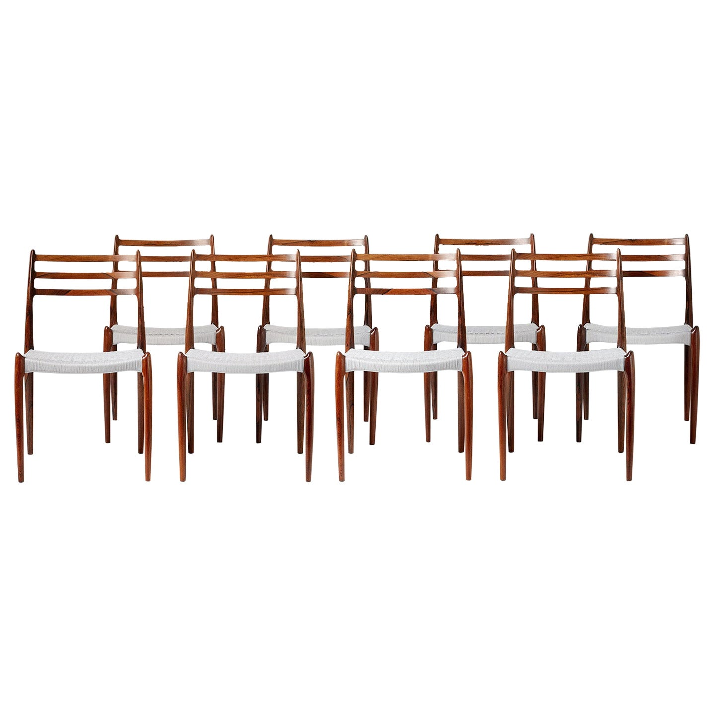 Set of 8 Niels Møller Model 78 Rosewood Dining Chairs, 1962