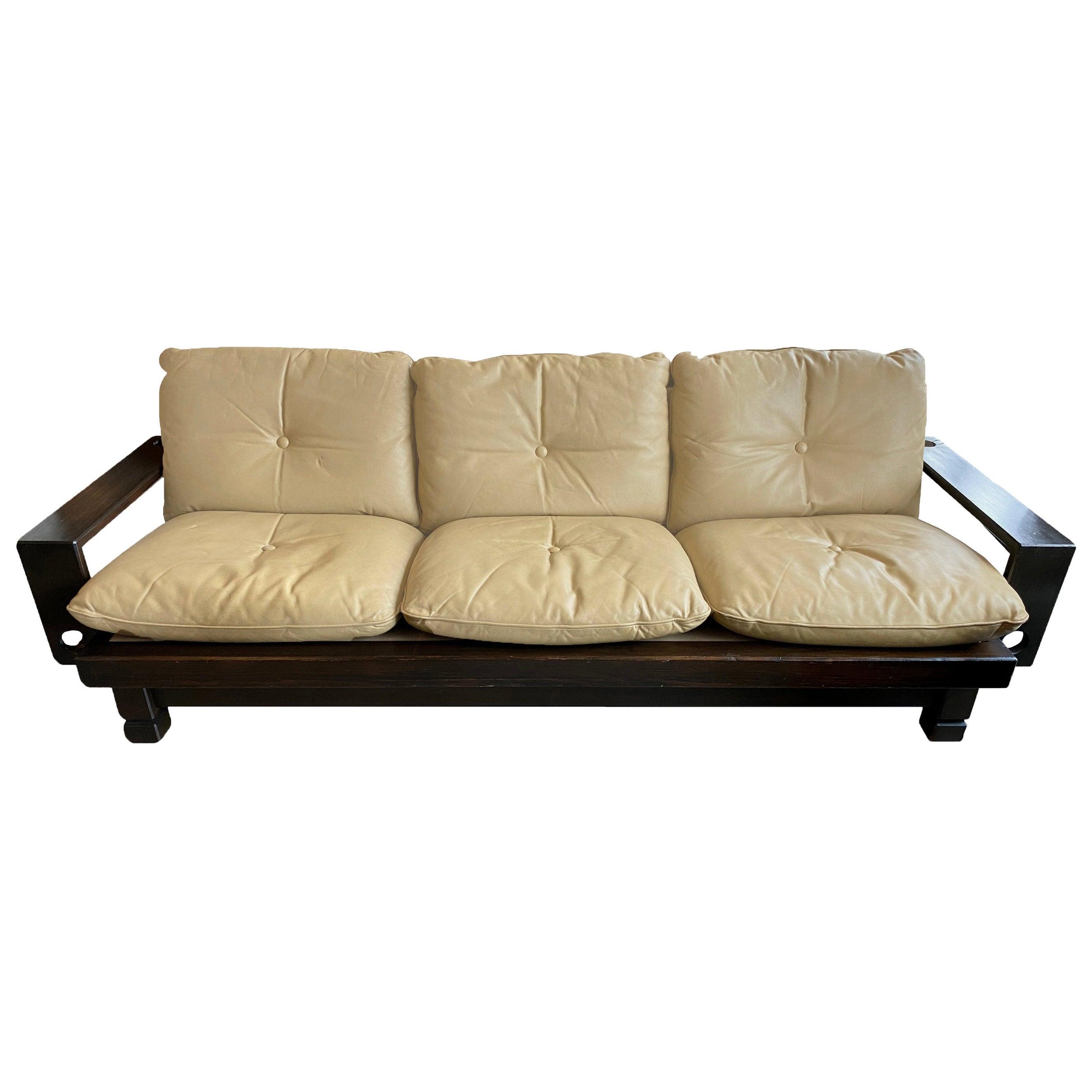 Midcentury Leather Sofa, 1960s