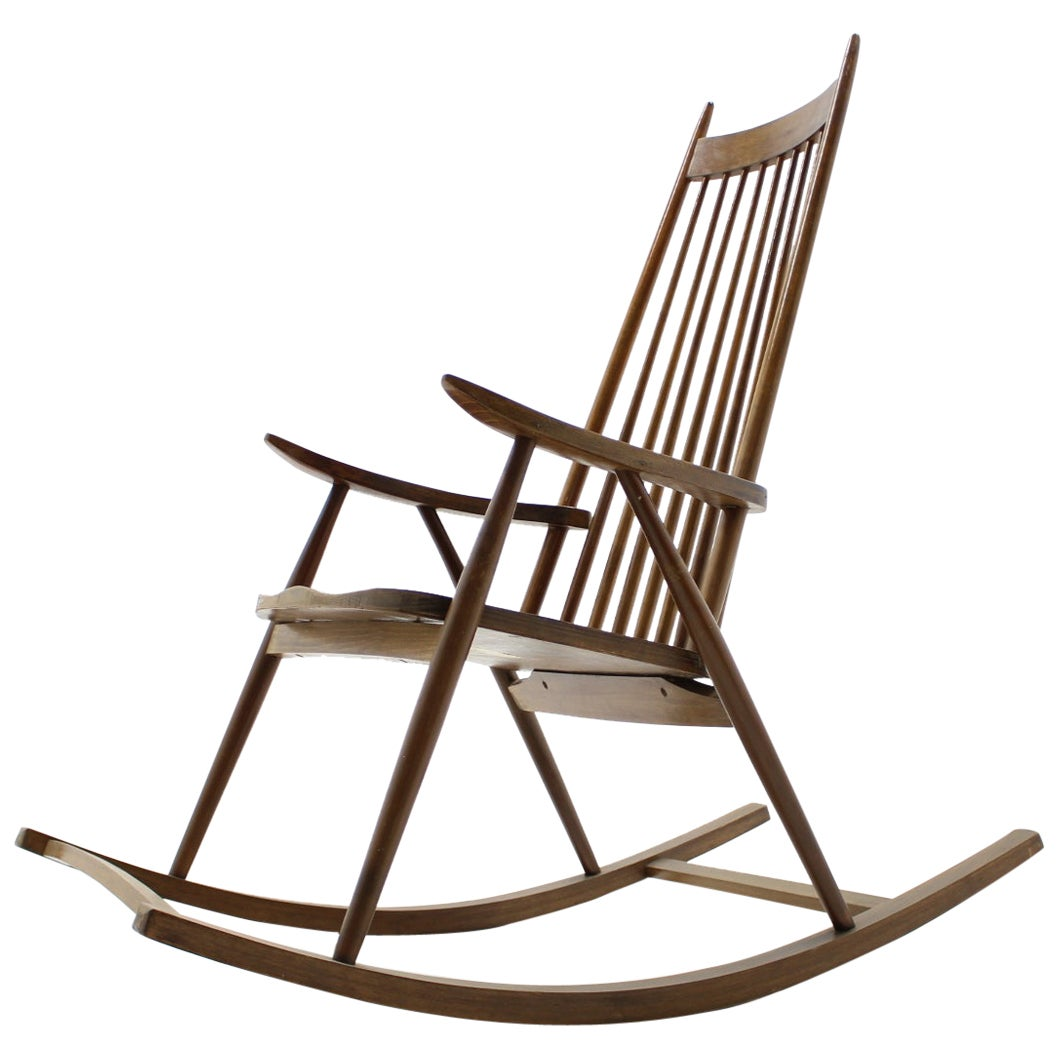 Midcentury Wooden Scandinavian Style Rocking Chair, Czechoslovakia, 1960s