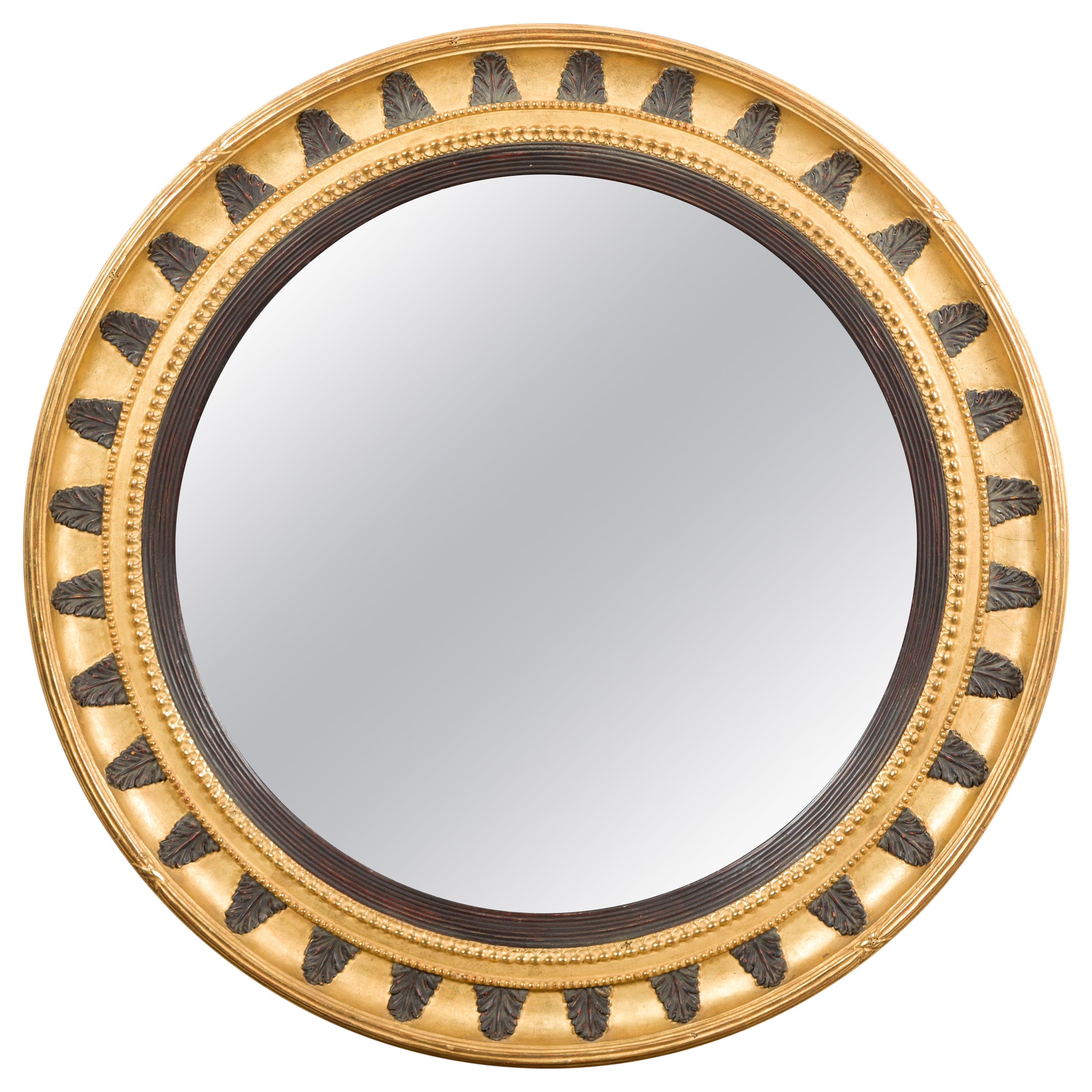 English Midcentury Bullseye Convex Mirror with Gilded Frame and Ebonized Leaves