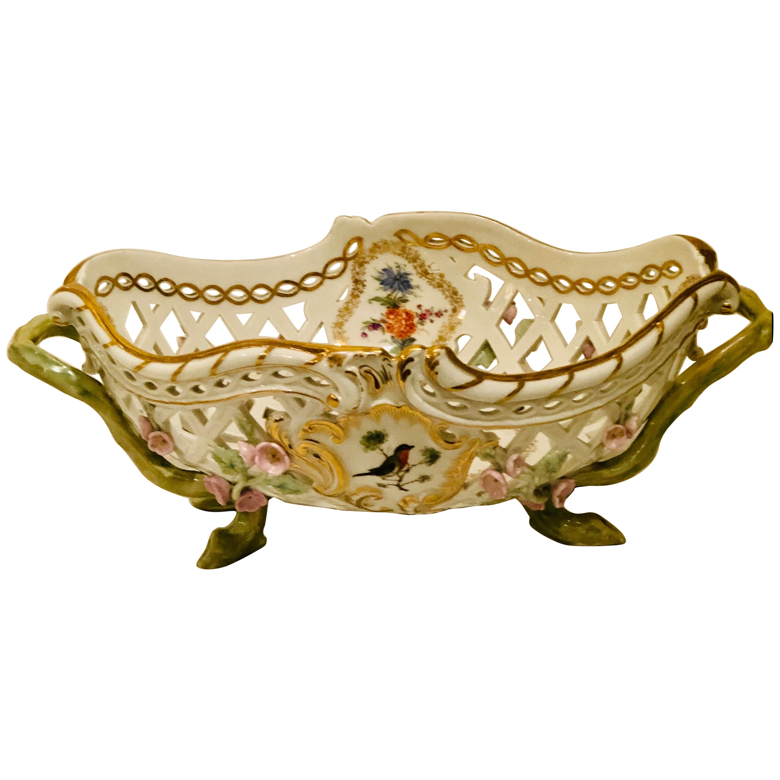 KPM Reticulated Bowl with Raised Pink Flowers and Painted Birds