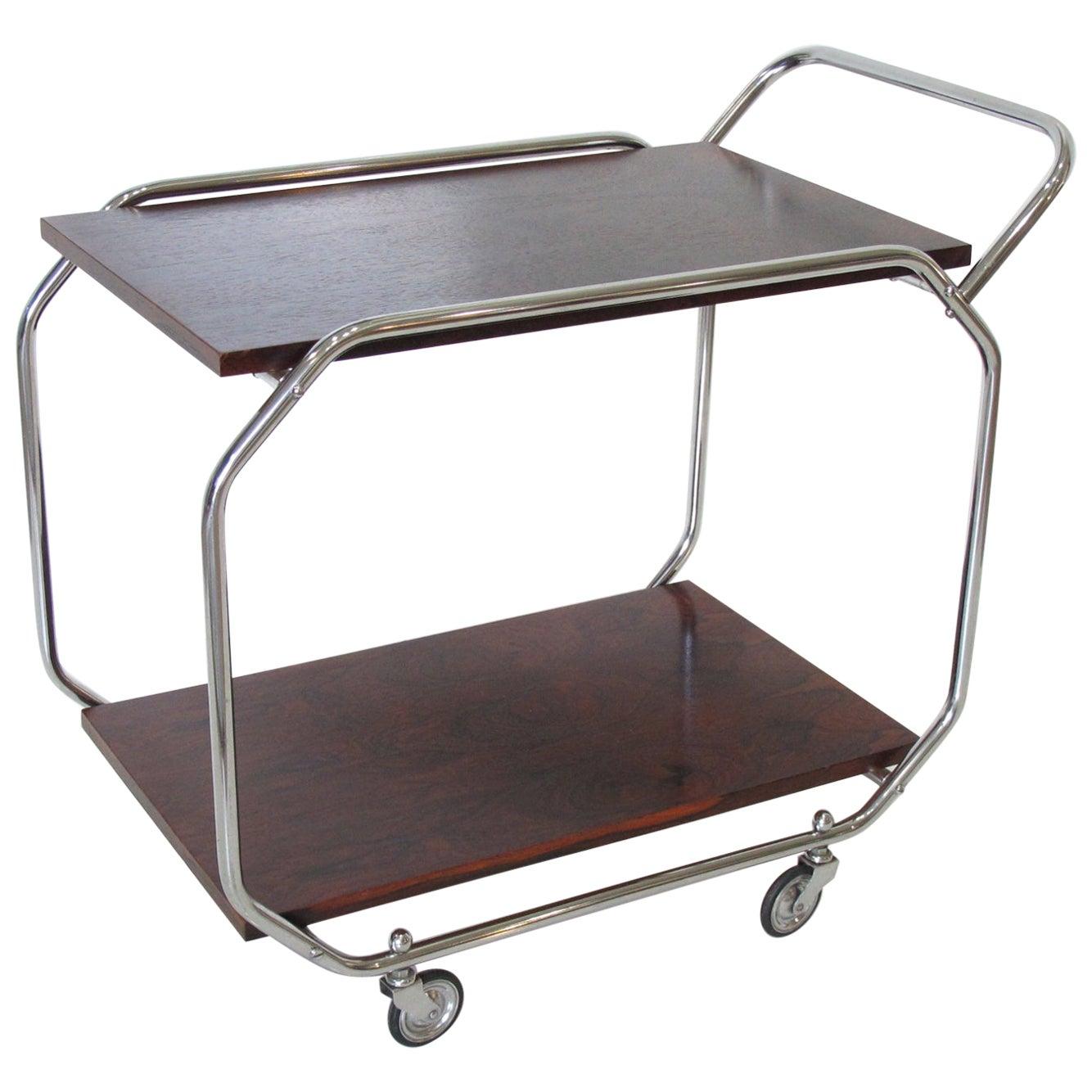 Bauhaus Art Deco Chrome and Rosewood Rolling Bar Cart