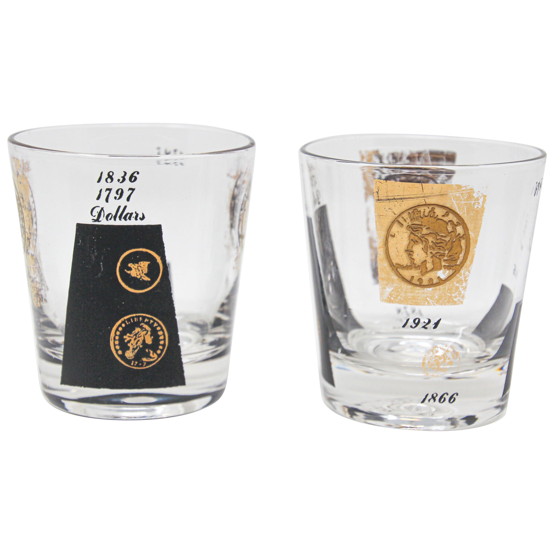 Vintage Midcentury Barware Glasses 1960s Gold Presidential Coins