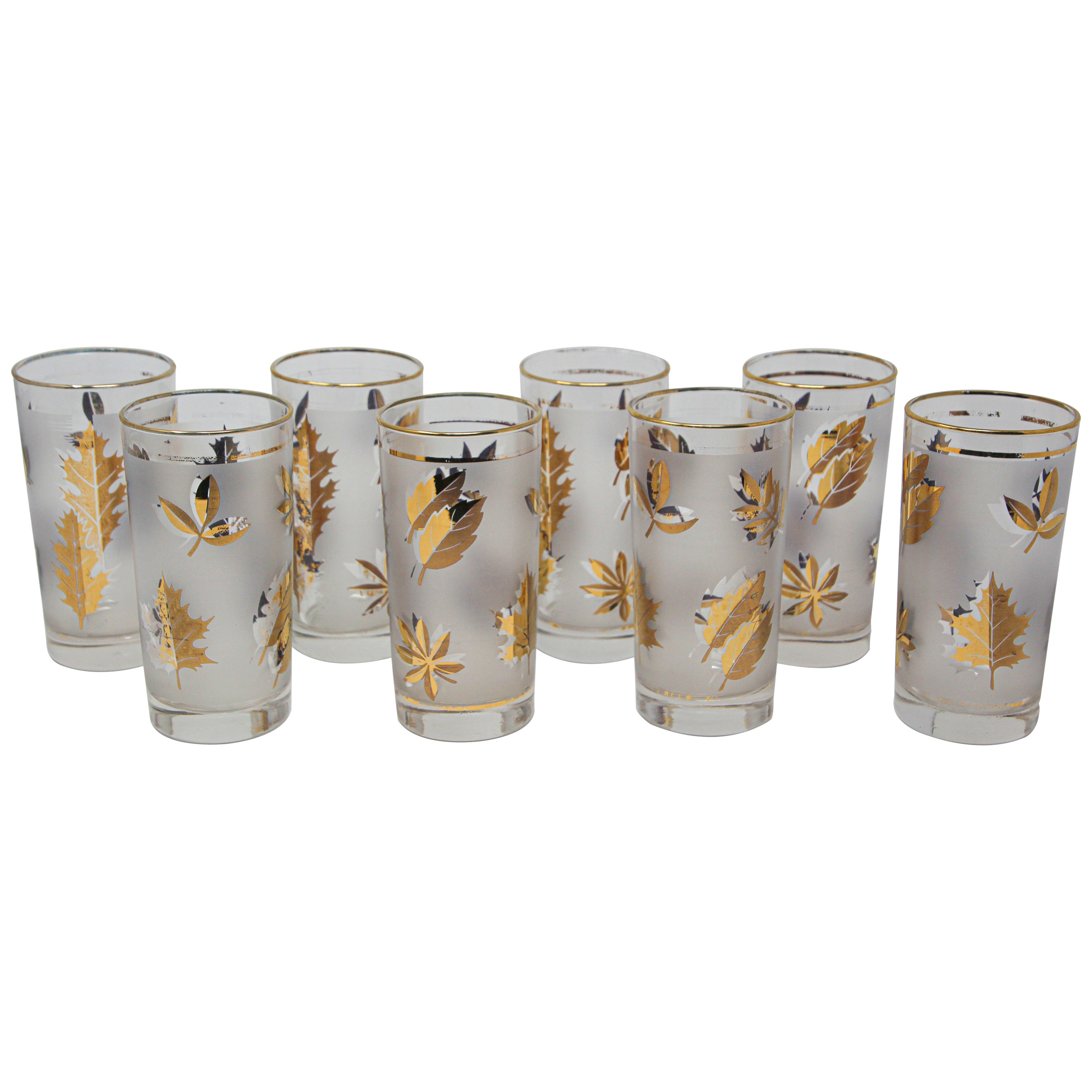 Vintage Midcentury Libbey Set of Eight Highball Frosted and Gold Glasses