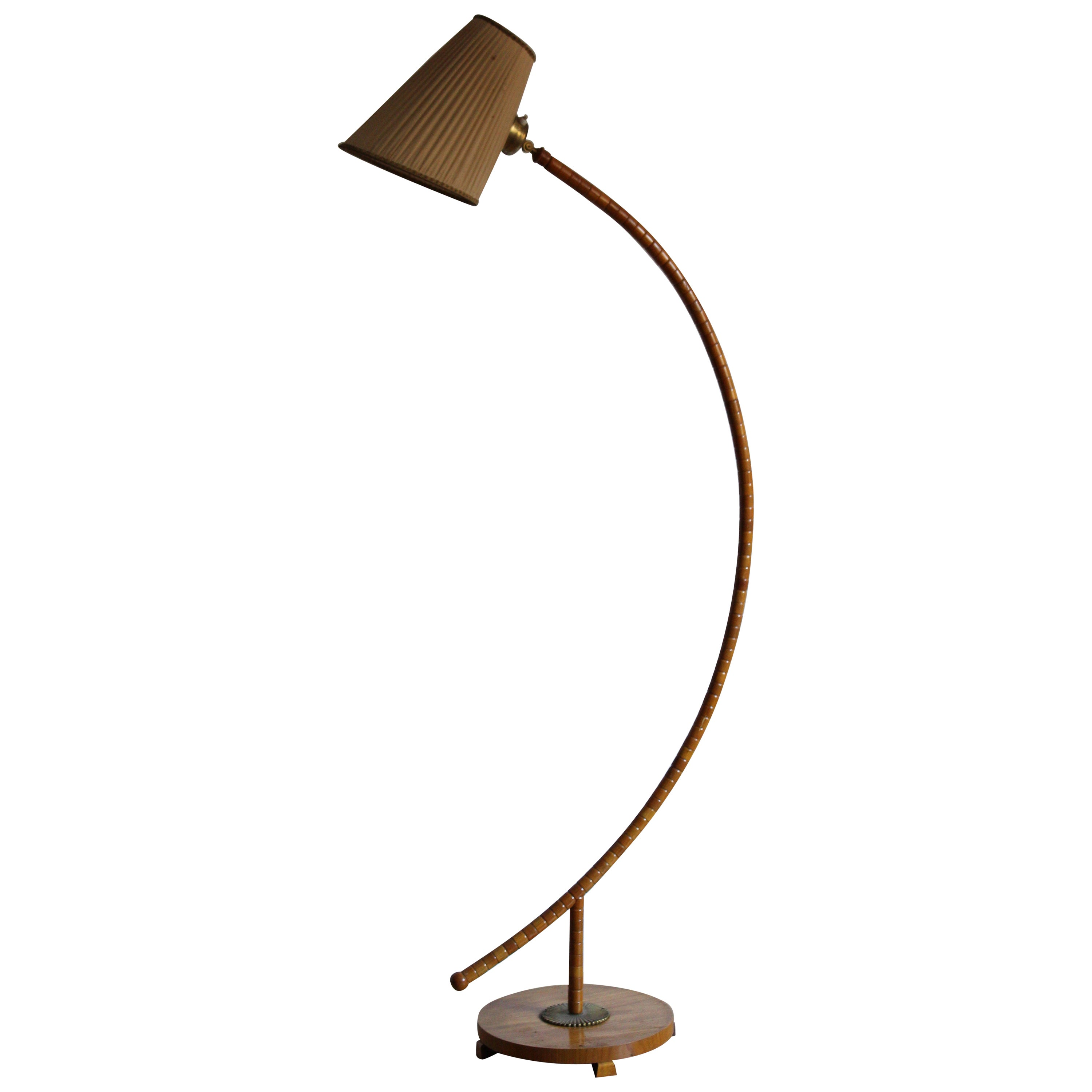 Swedish Modernist Designer, Large Floor Lamp, Wood, Brass, Fabric, 1940s