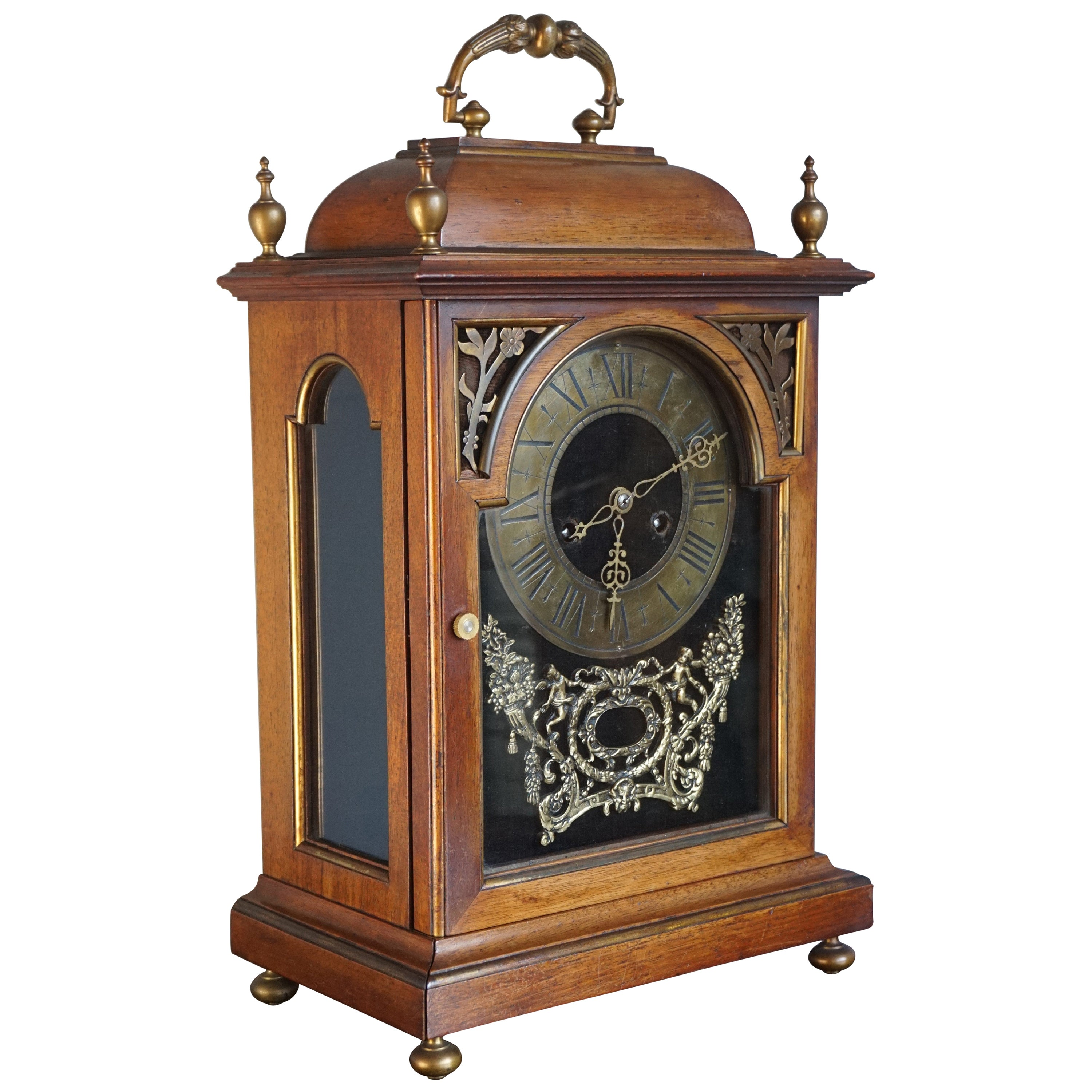 Large Antique Renaissance Revival Nutwood and Bronze Table or Mantel Clock 1800s