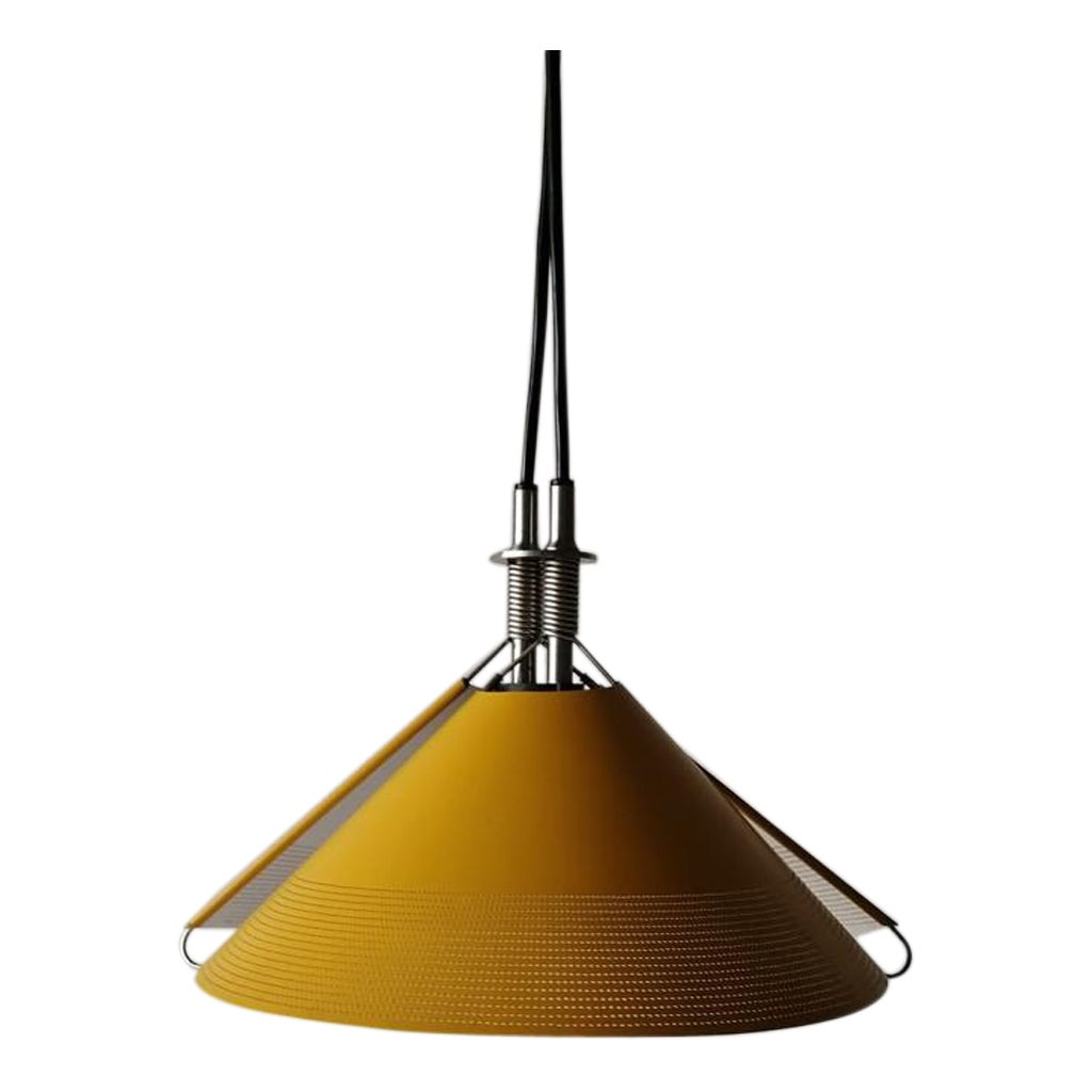 Yellow Metal Pendant Lamp Sintheto Soffitto by F. A. Porsche for Luci, 1980s