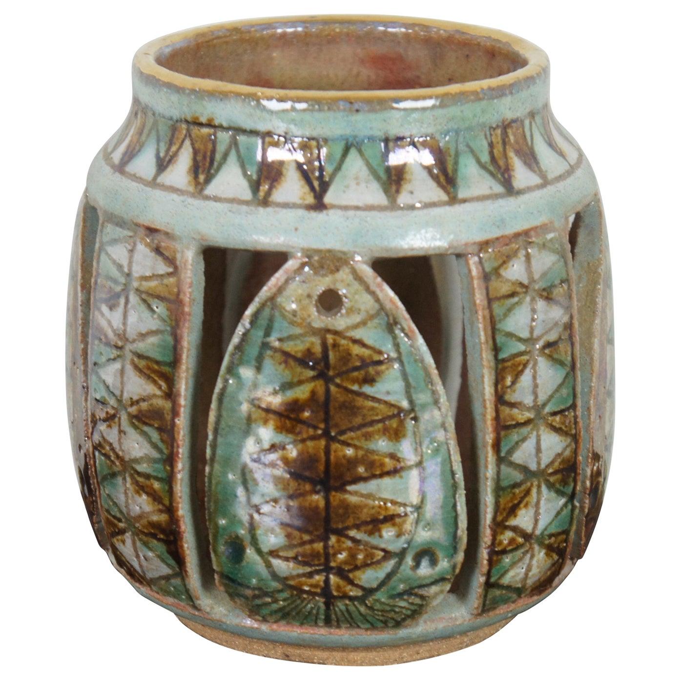 John Nartker Midcentury Ceramic Candleholder Lantern Green Brown Southwestern