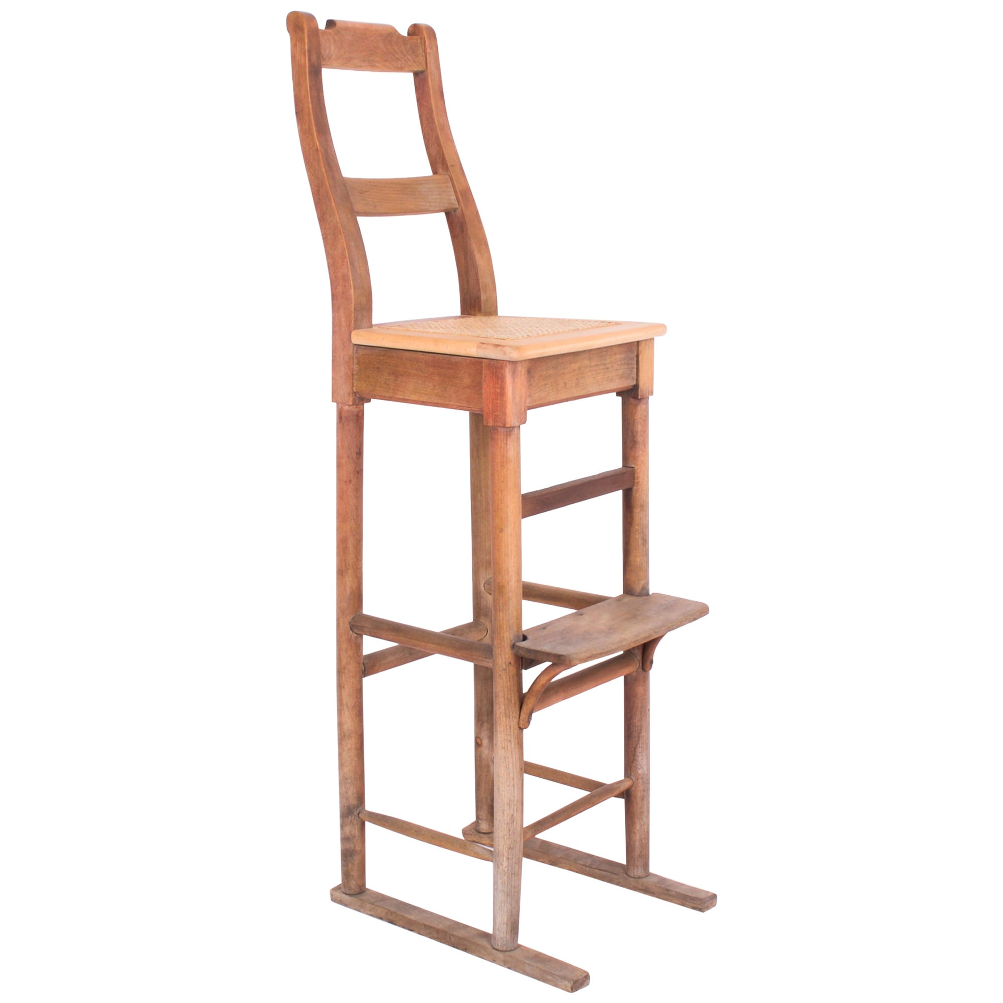 1950s French Country Tall Wooden Chair