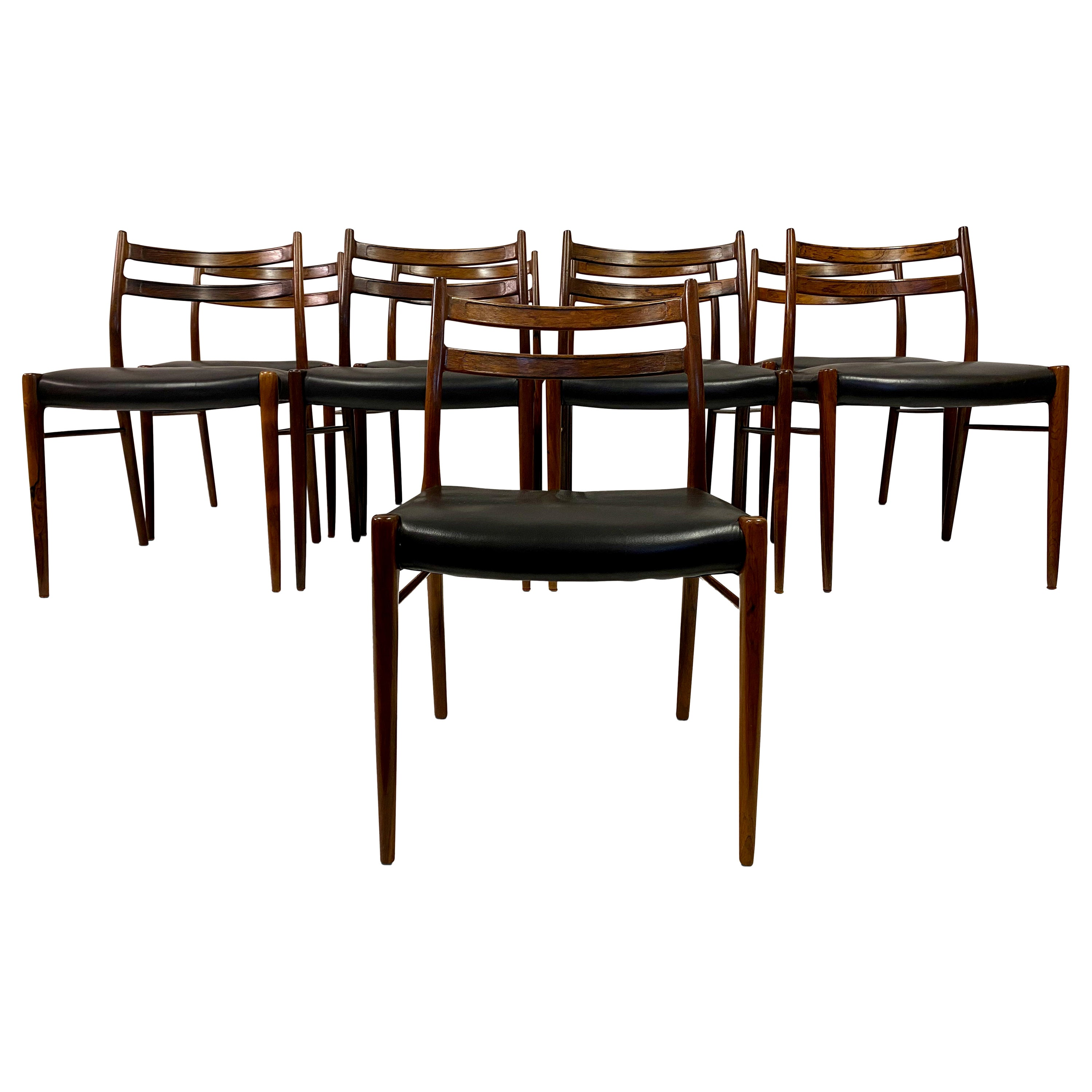 Set of Nine 1960s Danish Rosewood Dining Chairs by Glyngøre Stolefabrik