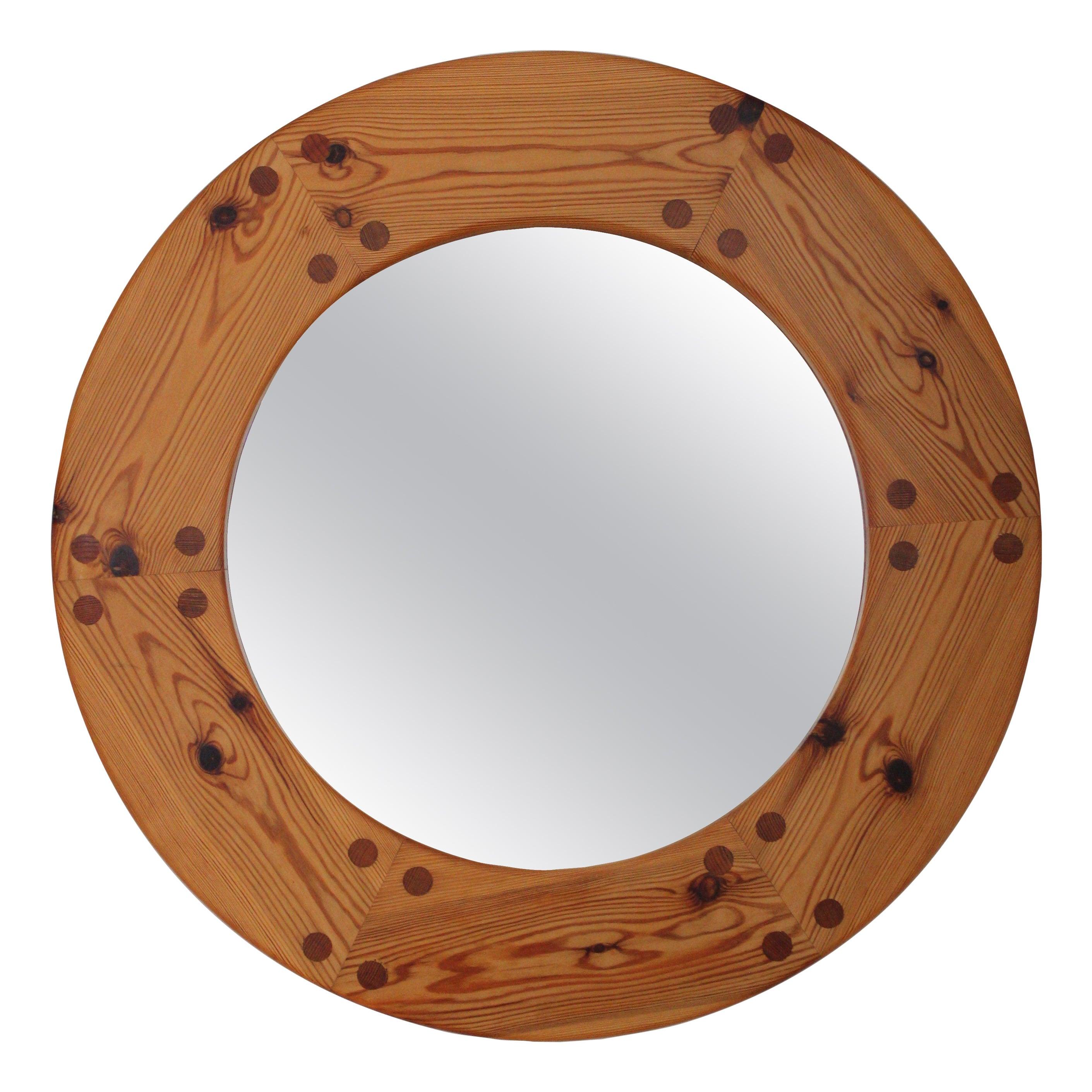 Uno Kristiansson, Round Wall Mirror, Solid Pine, Luxus, Sweden, 1960s