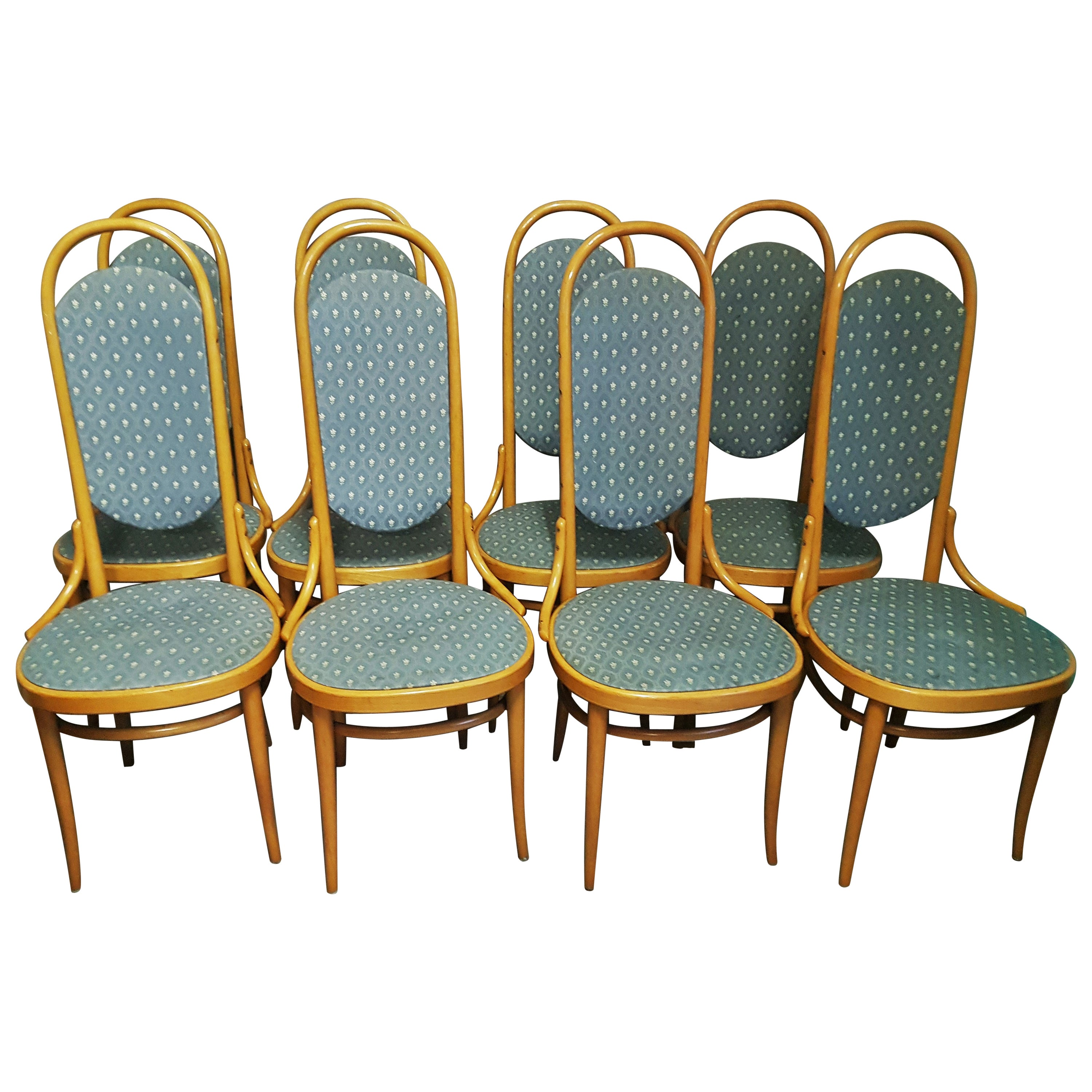 Midcentury Set of 8 Thonet High Back Bentwood Dining Chairs