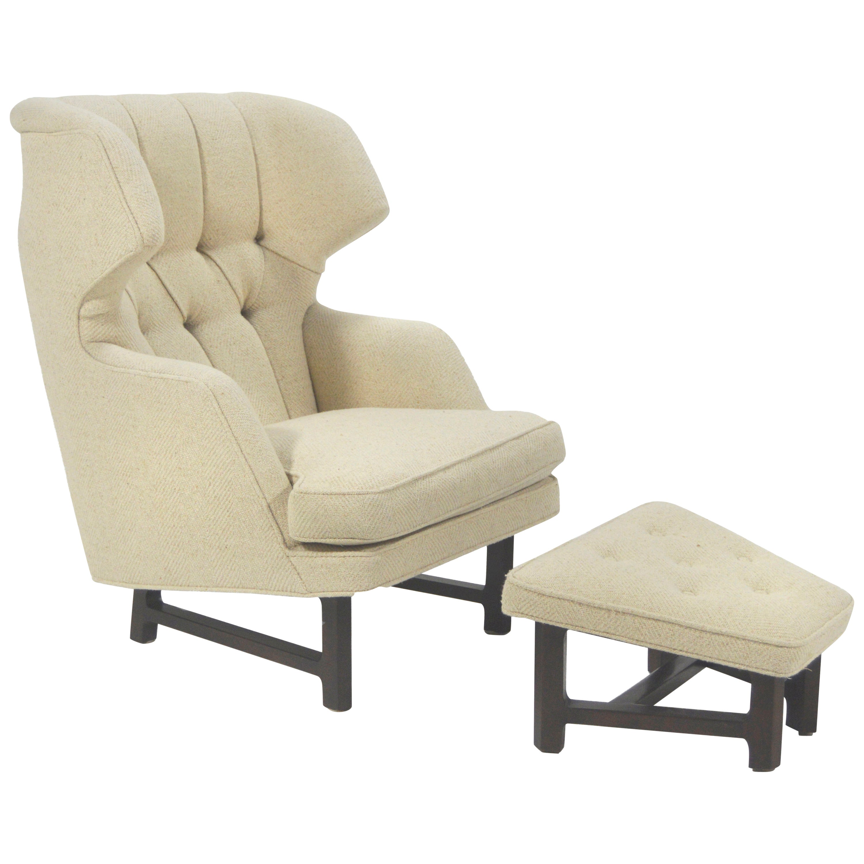 Edward Wormley Model 5761 Janus Wingback Chair and Ottoman