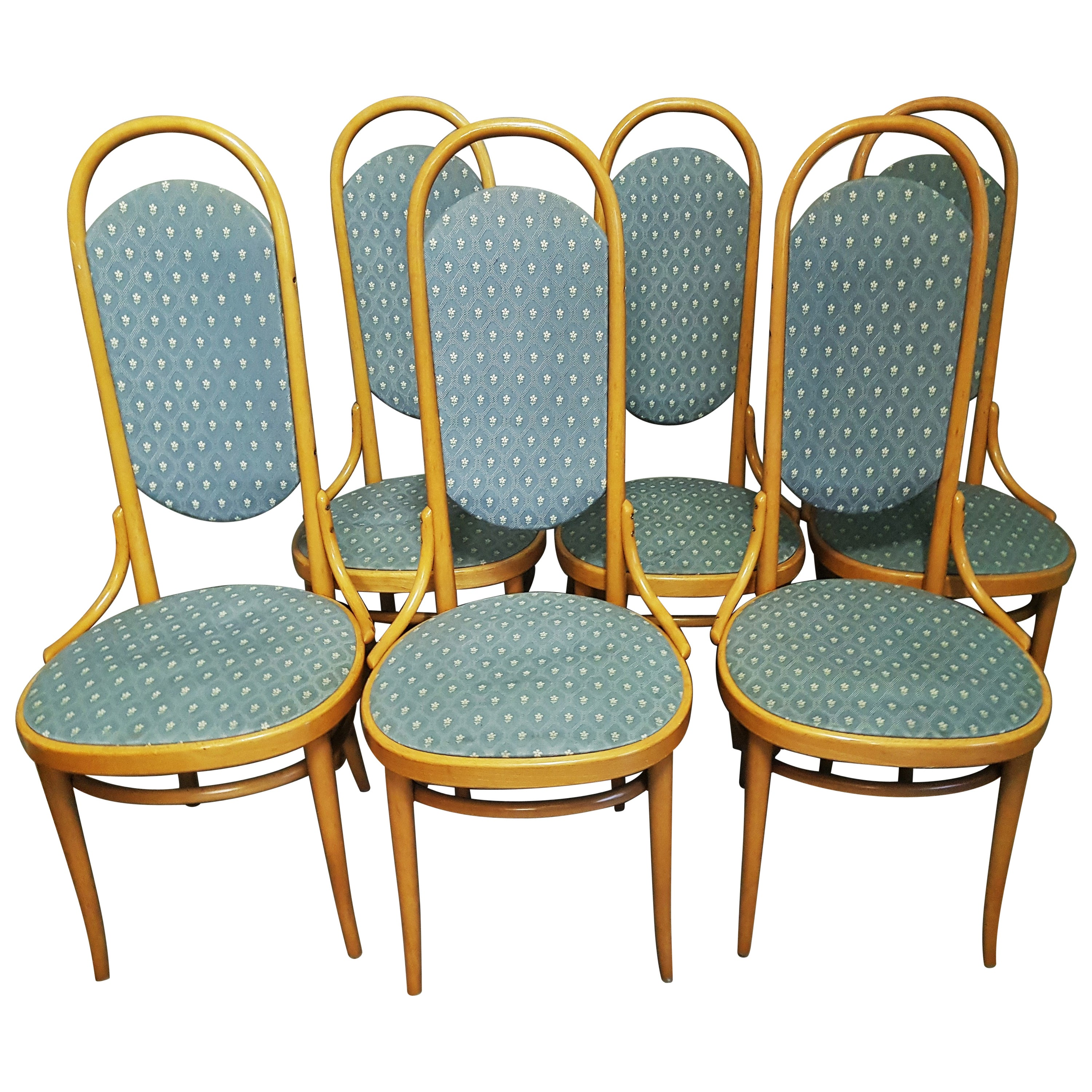 Midcentury Set of 6 Thonet High Back Bentwood Dining Chairs