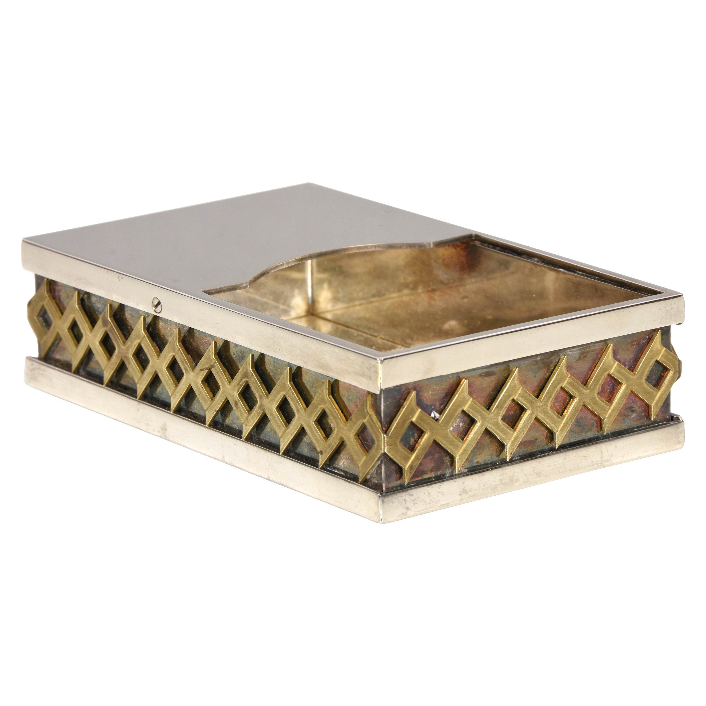 Midcentury Benaglia Silver Plate Italian Decorative Box for Cleto Munari, 1970s