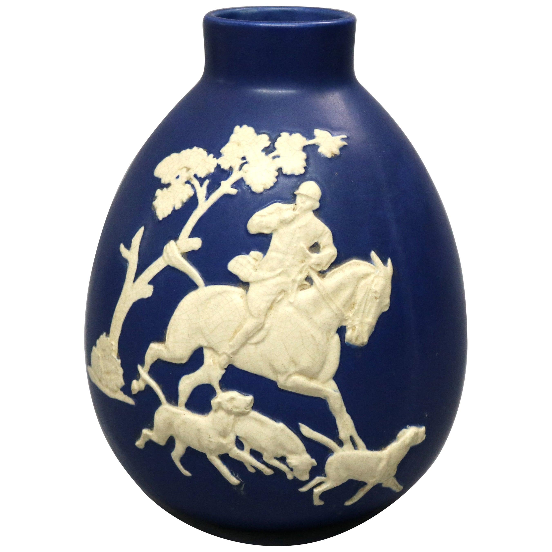 Antique Large Weller Art Pottery Jasperware Fox Hunt Blue & White Vase, c1930
