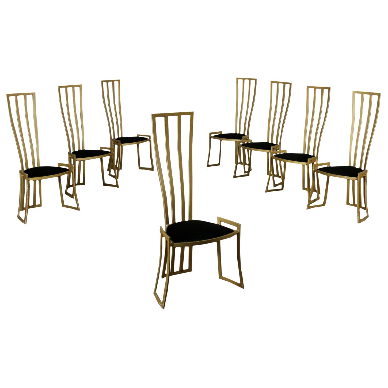 Eight Chairs Marzio Cecchi Enamelled Metal Foam Velvet, Italy, 1980s