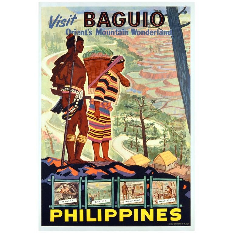 Original Vintage Poster - Visit Baguio Philippines Orient's Mountain Wonderland For Sale