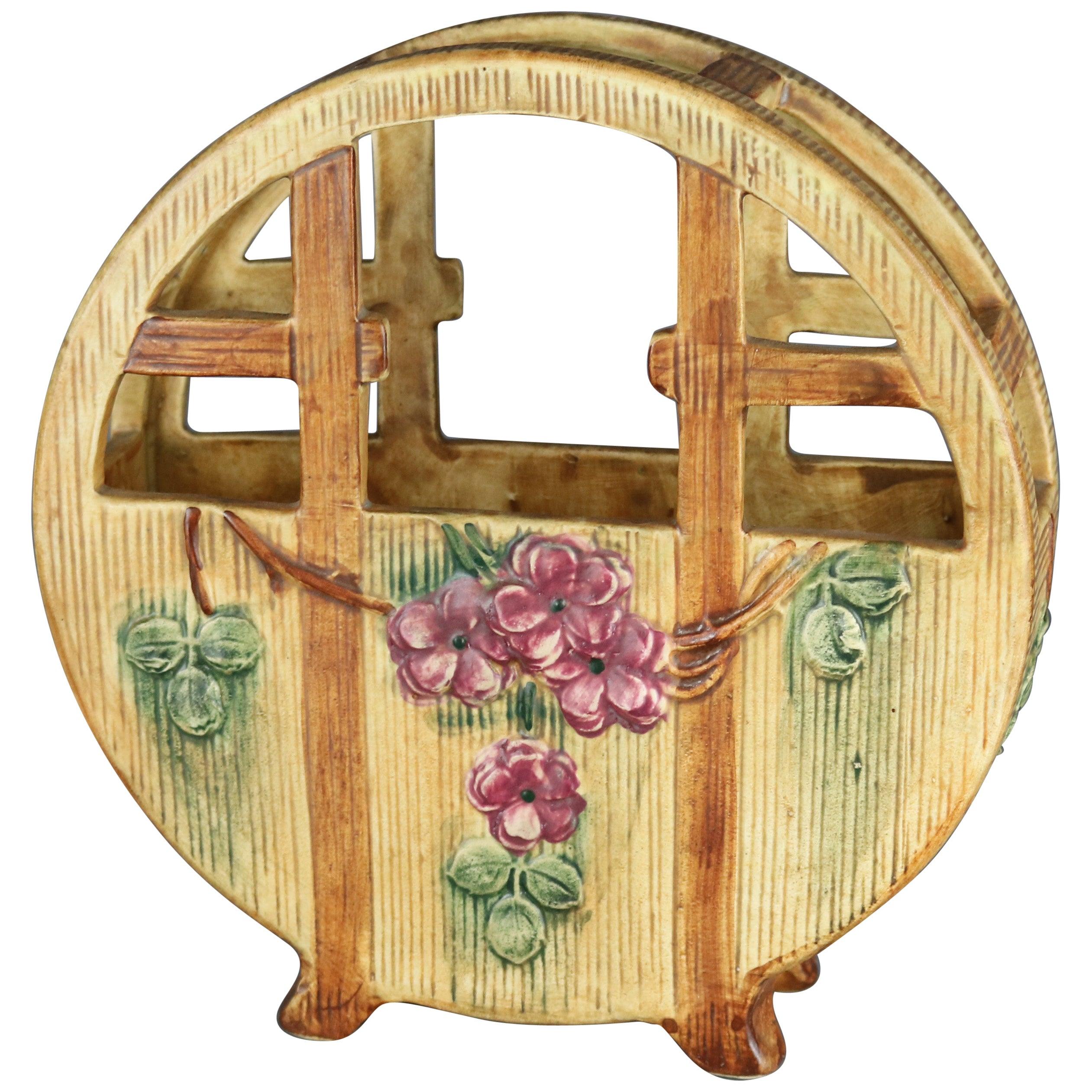 Antique Weller Woodcraft Art Pottery Basket Form Planter, Circa 1930